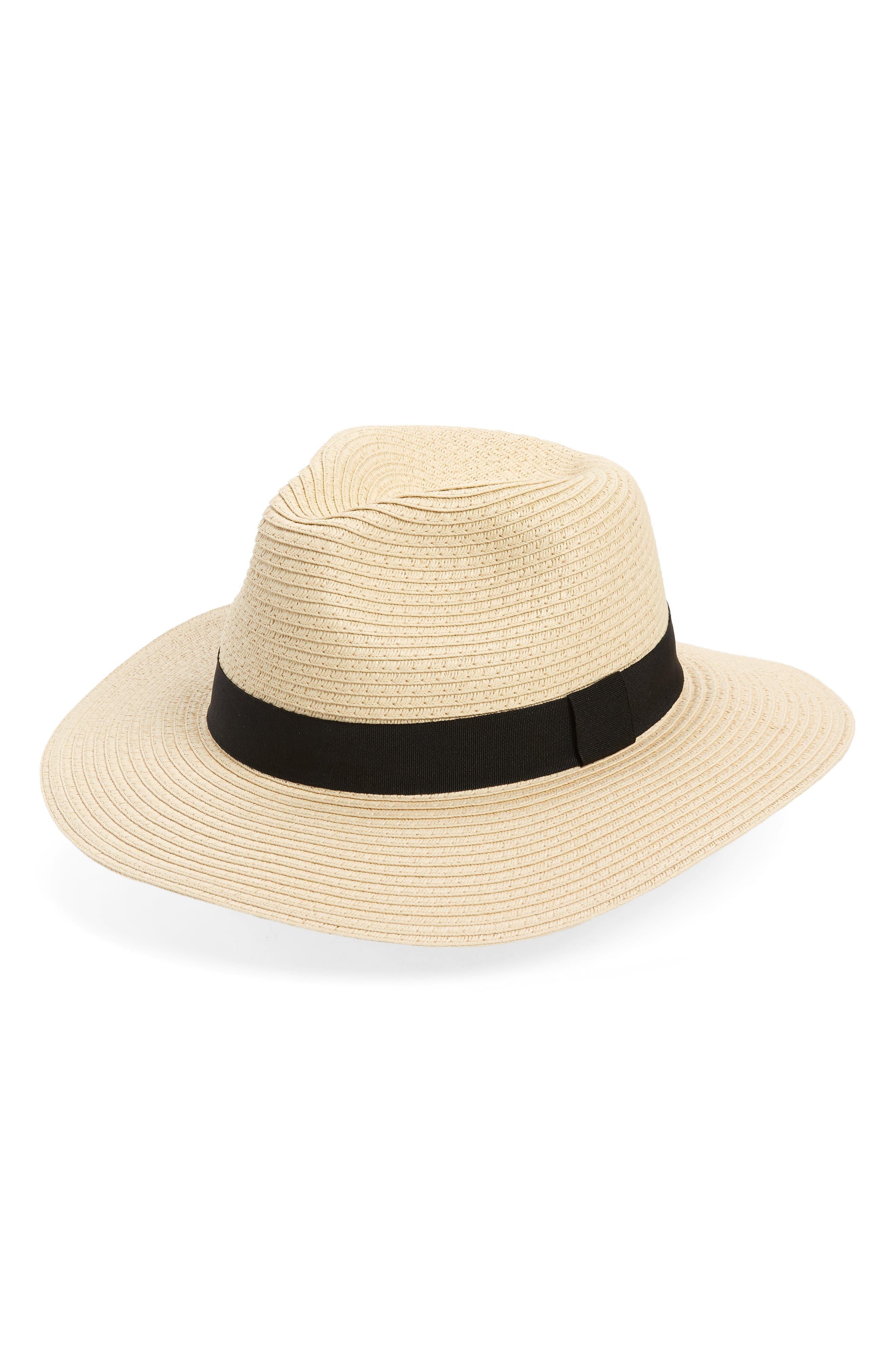 Straw Panama Hat,                             Main thumbnail 1, color,                             Natural