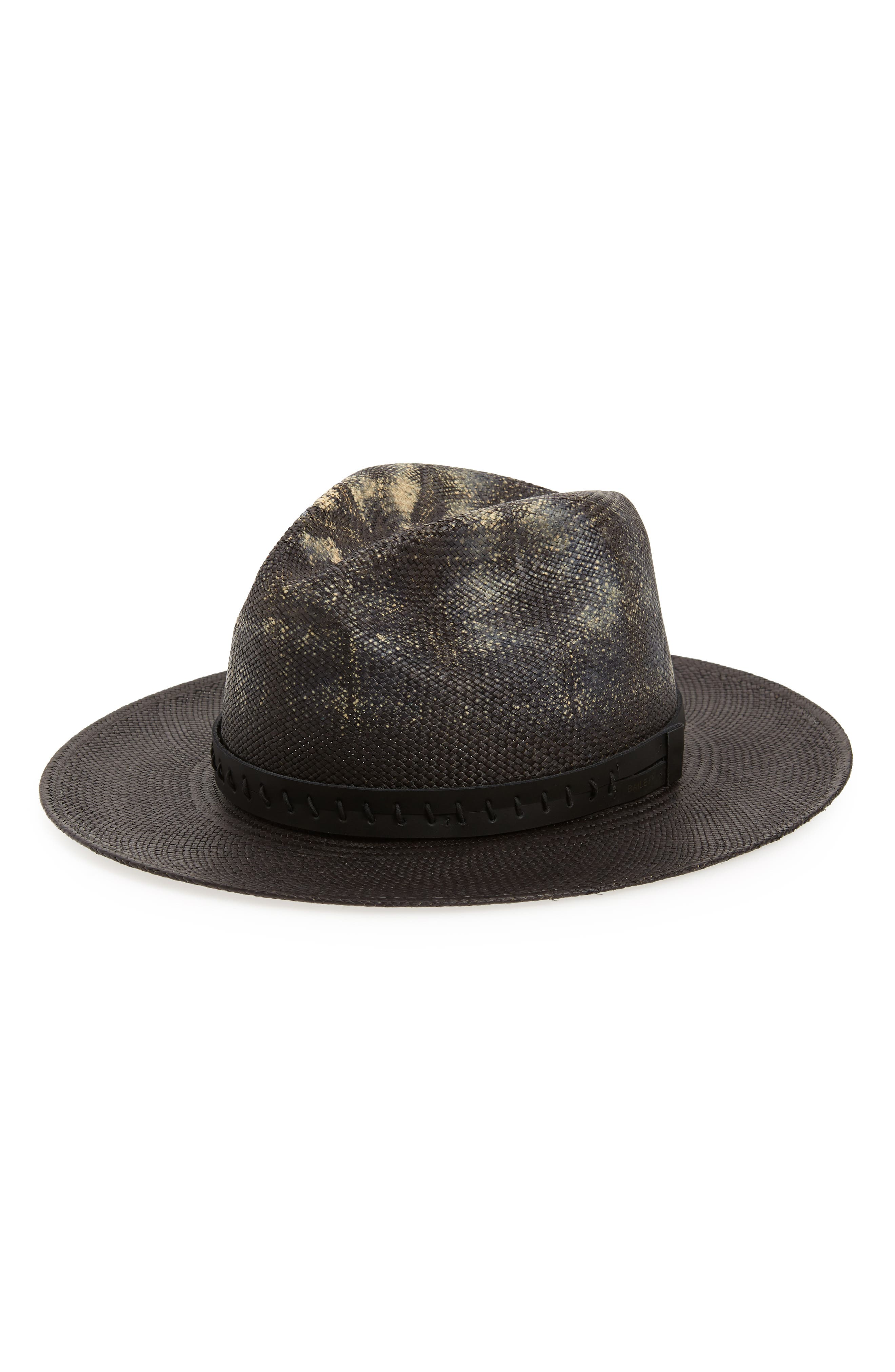 Dune Straw Panama Hat,                             Main thumbnail 1, color,                             Distressed Black