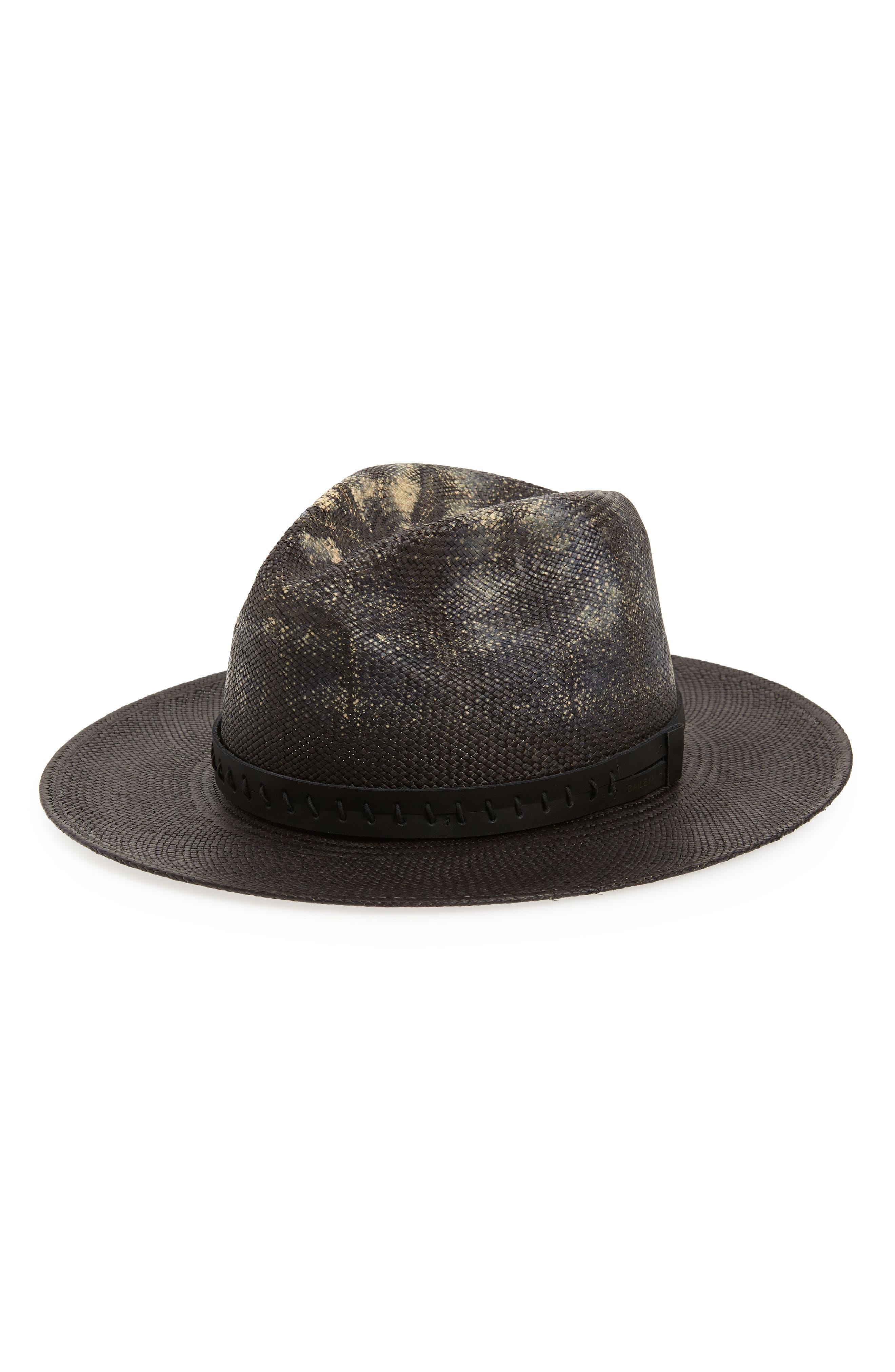 Dune Straw Panama Hat,                         Main,                         color, Distressed Black