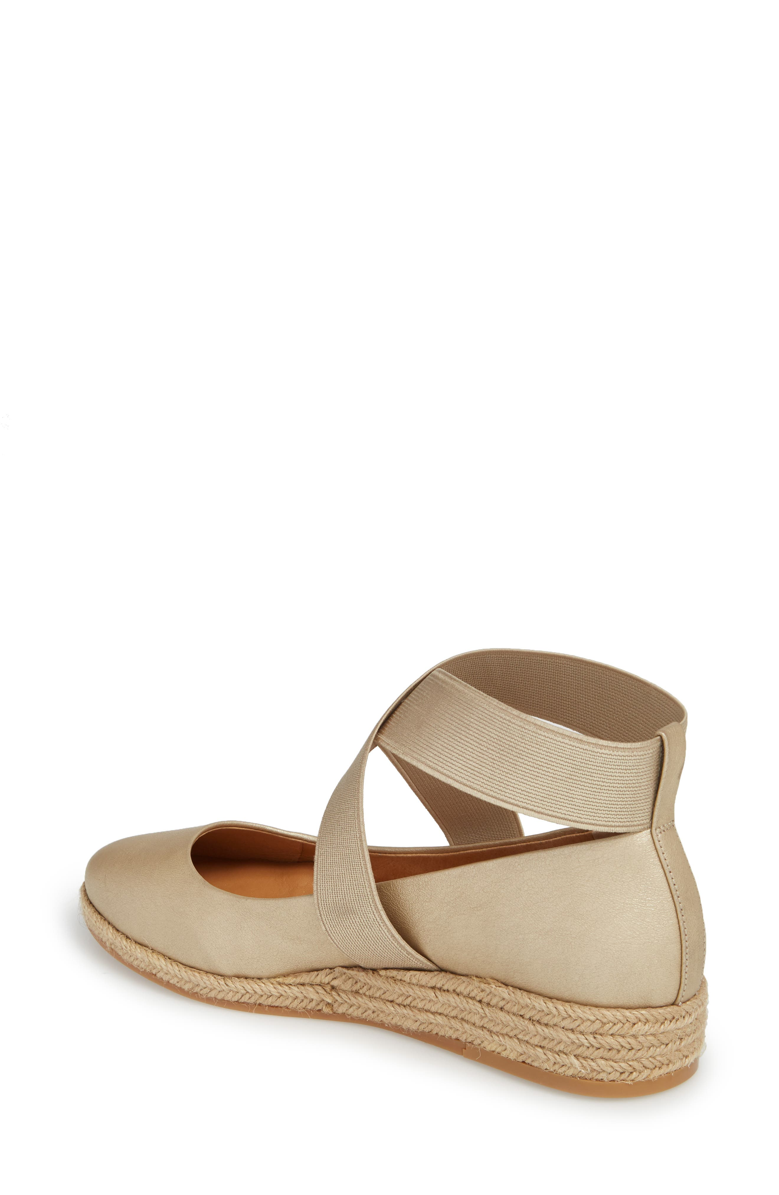Bellah Espadrille Wedge,                             Alternate thumbnail 2, color,                             Soft Gold Leather