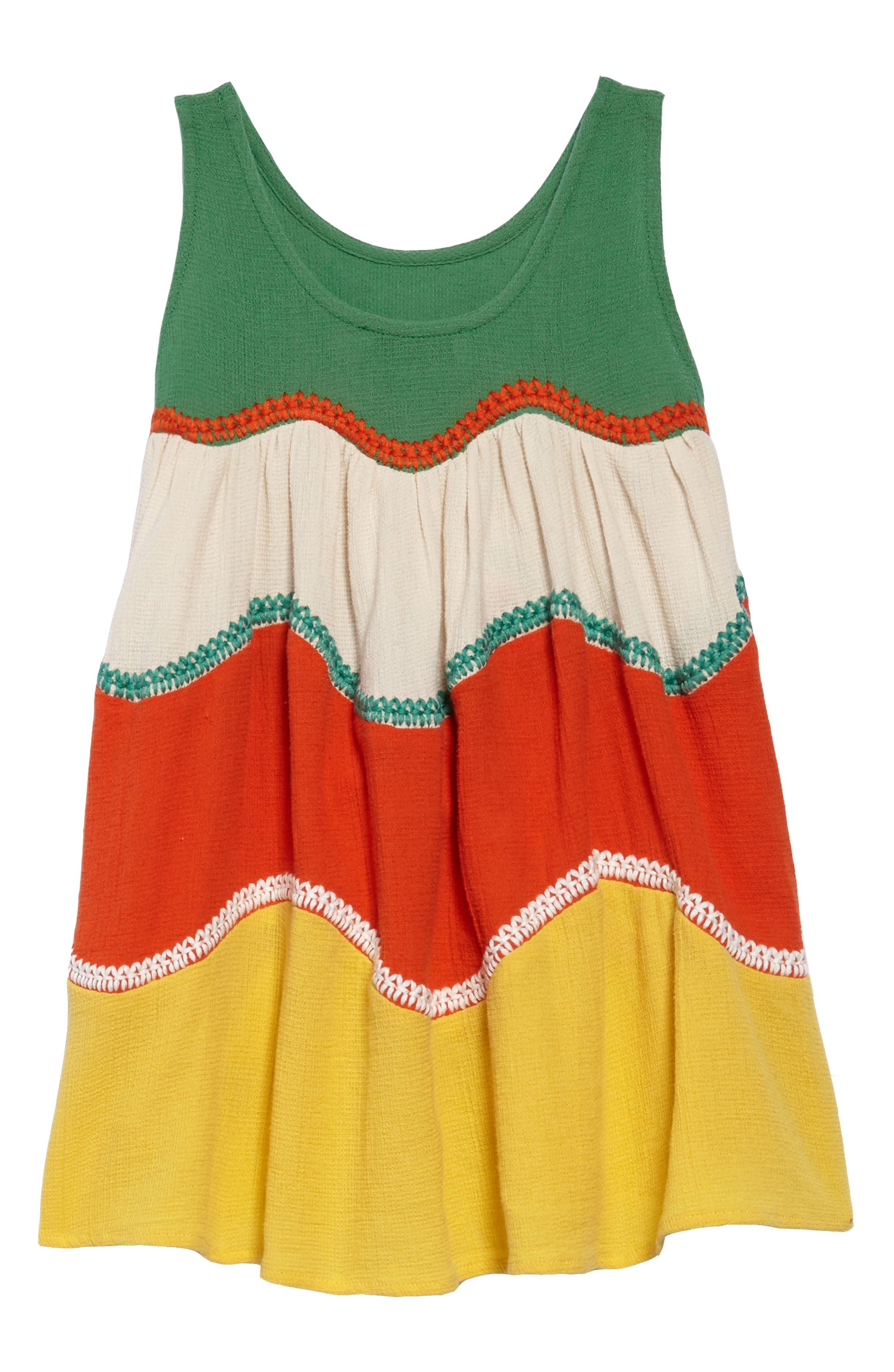 Kids Kiara Colorblock Sundress,                             Alternate thumbnail 2, color,                             Jungle