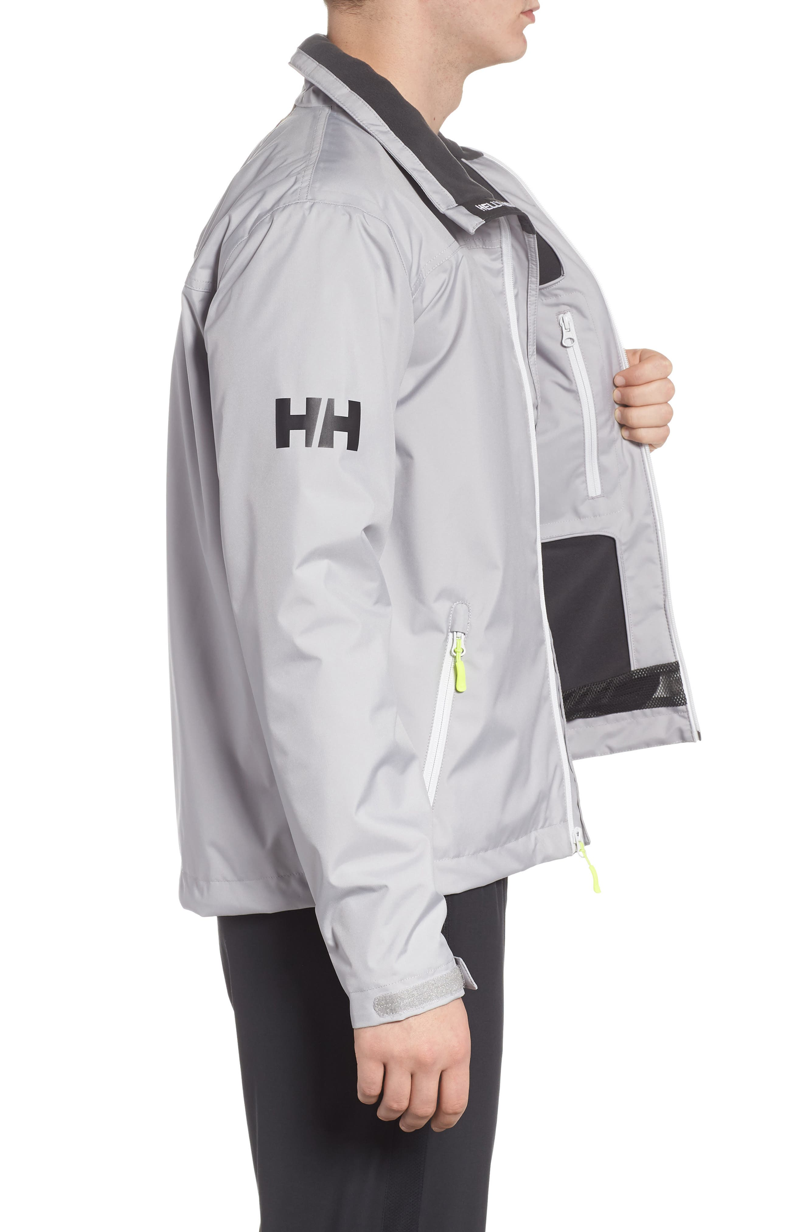 'Crew' Waterproof & Windproof Jacket,                             Alternate thumbnail 3, color,                             Silver Grey
