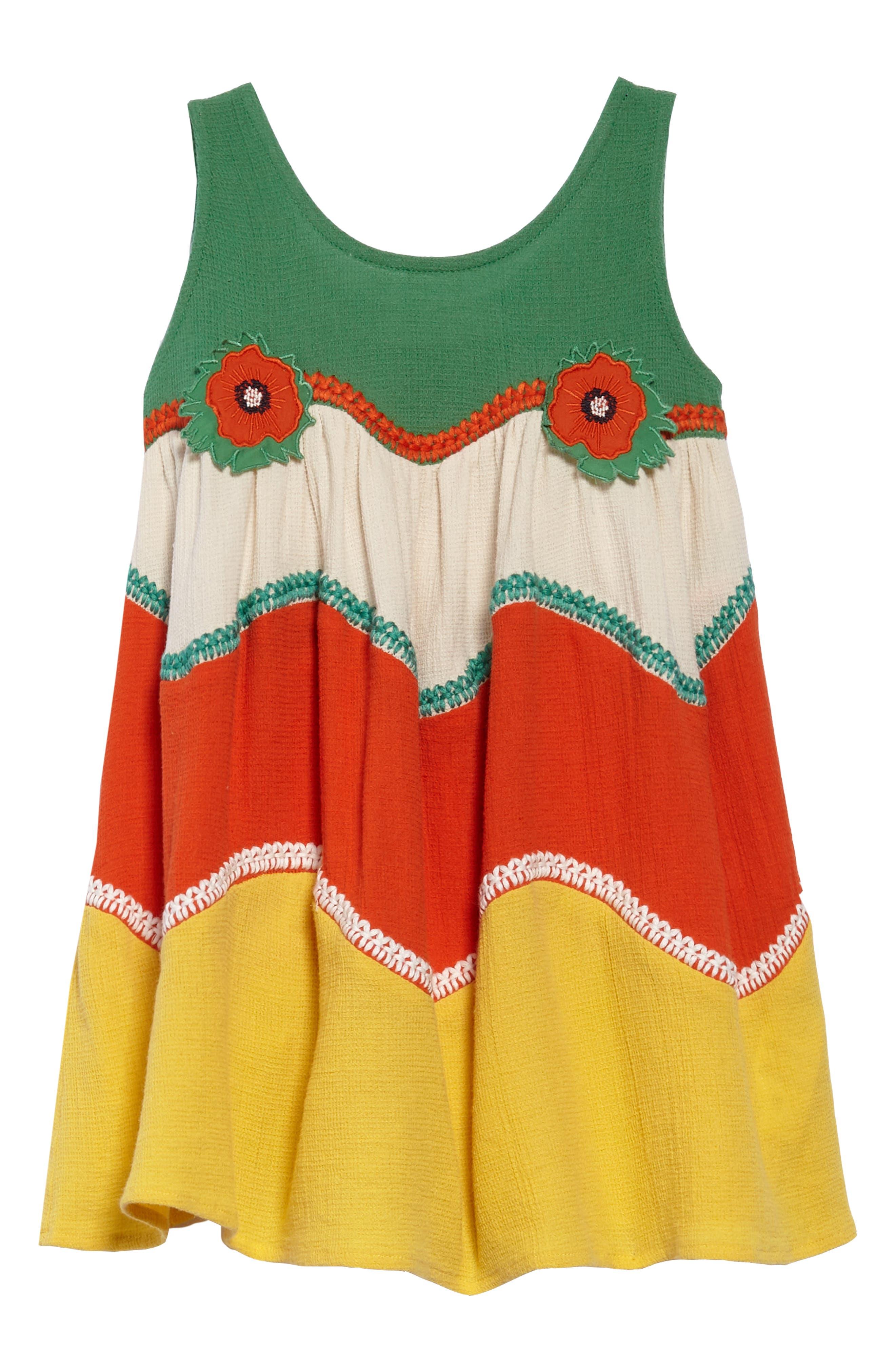 Kids Kiara Colorblock Sundress,                             Main thumbnail 1, color,                             Jungle