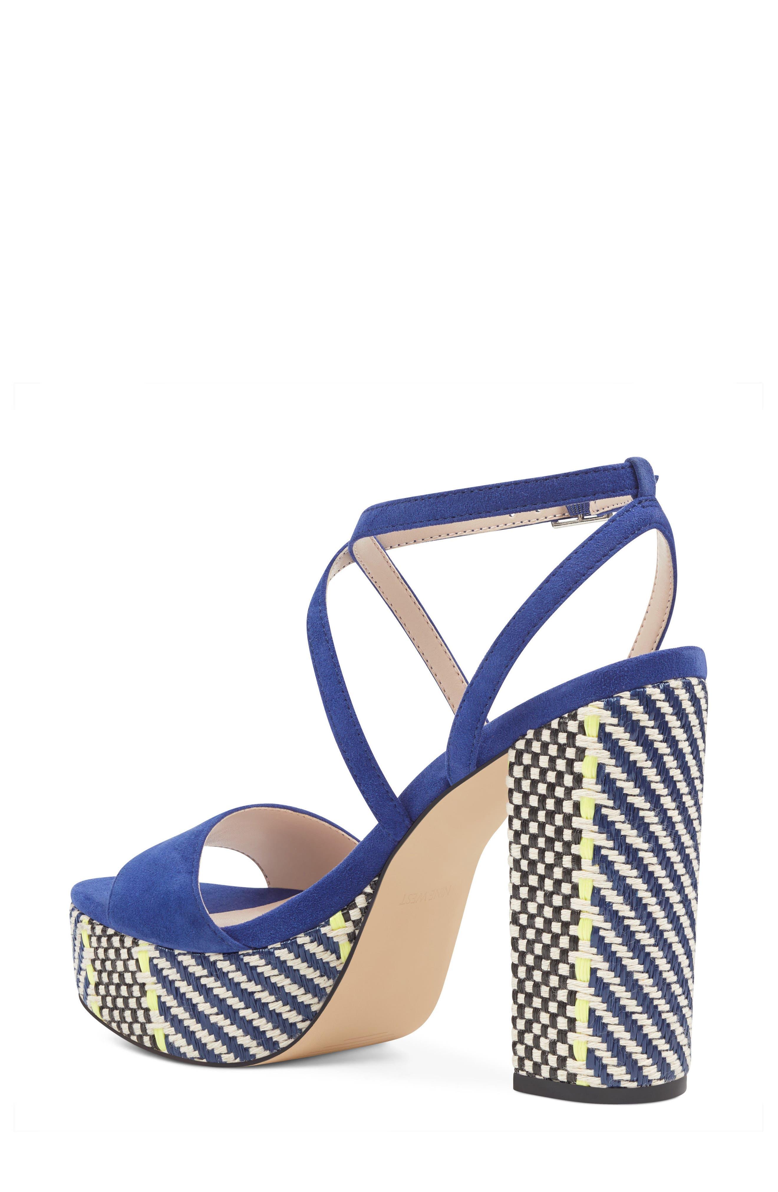 Markando Platform Sandal,                             Alternate thumbnail 2, color,                             Dark Blue Suede
