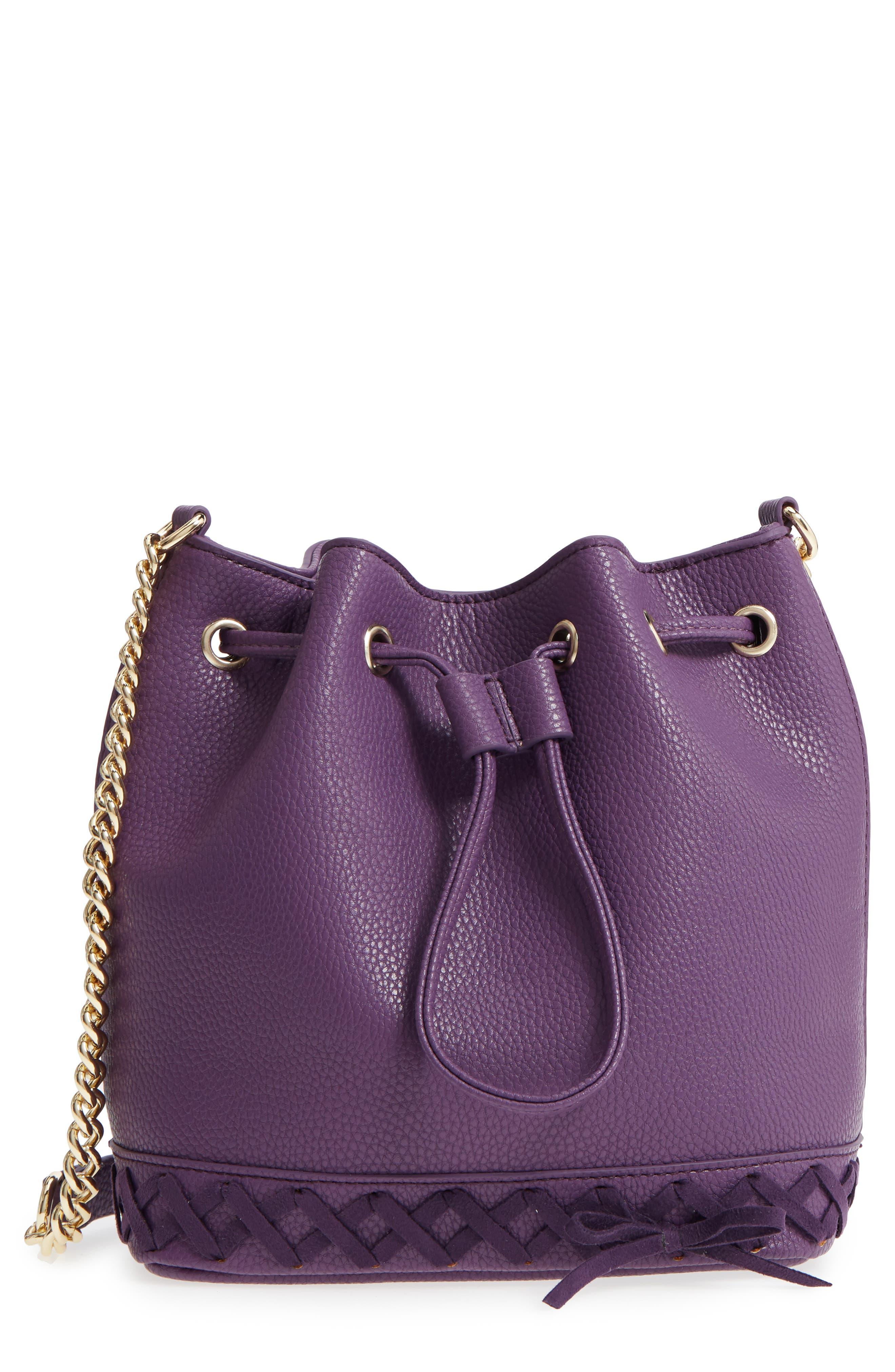 Veronica Faux Leather Bucket Bag,                         Main,                         color, Purple