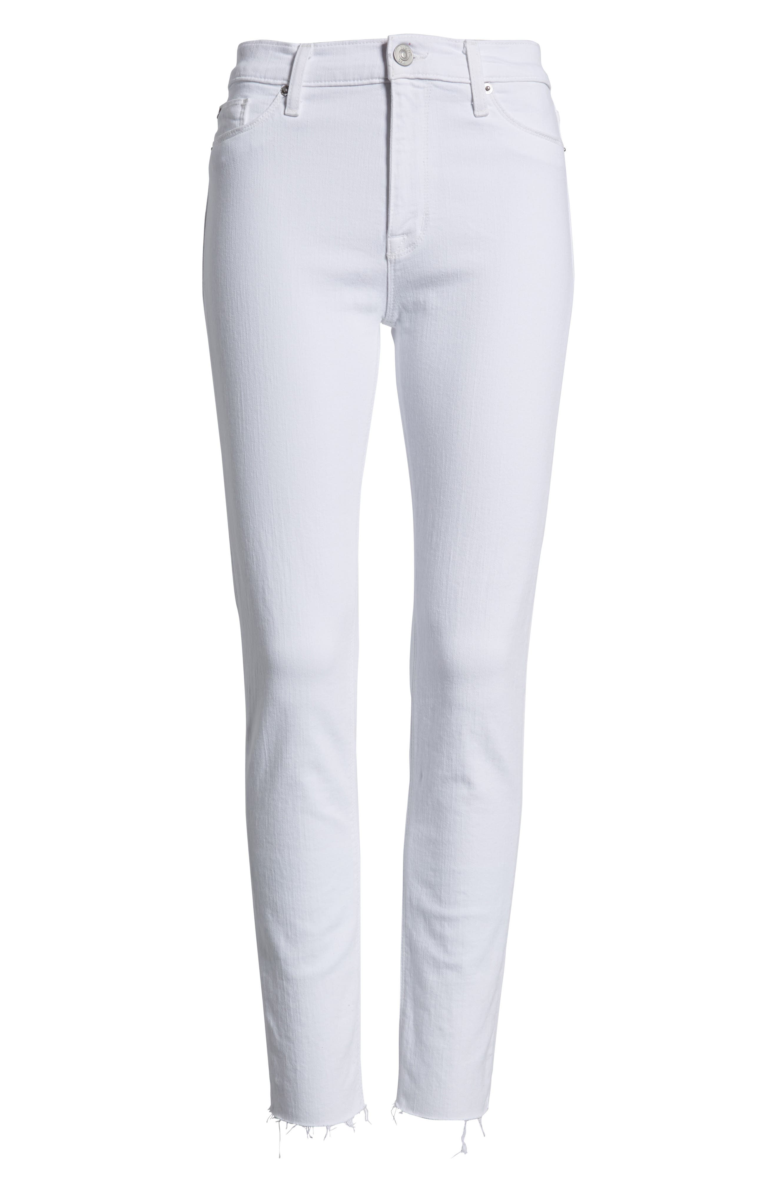 Barbara High Waist Raw Hem Ankle Skinny Jeans,                             Alternate thumbnail 7, color,                             Optical White