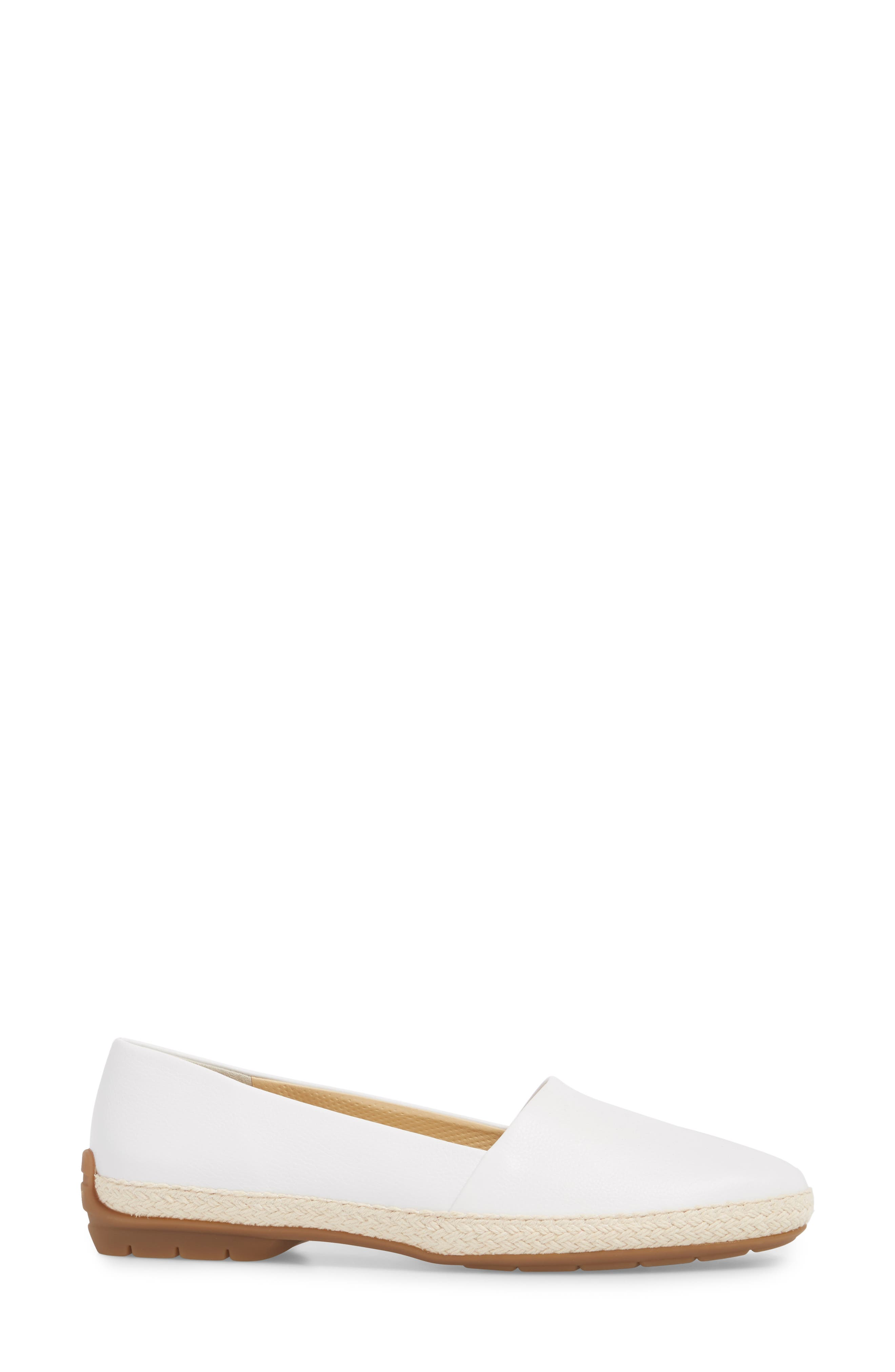 Roxy Espadrille,                             Alternate thumbnail 3, color,                             White Leather