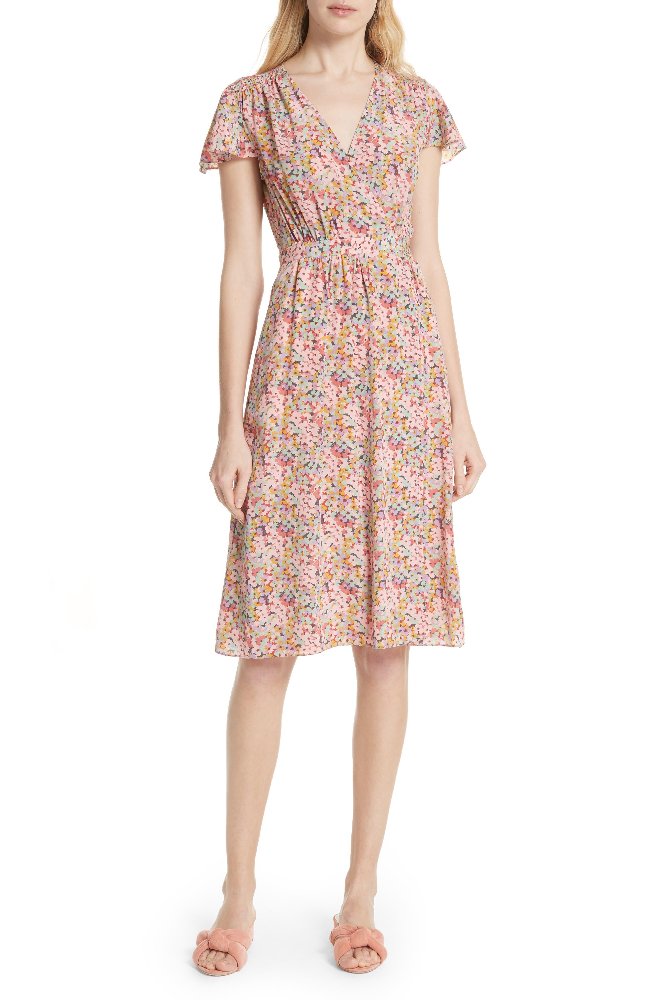 Margo Faux Wrap Silk Dress,                         Main,                         color, Multi