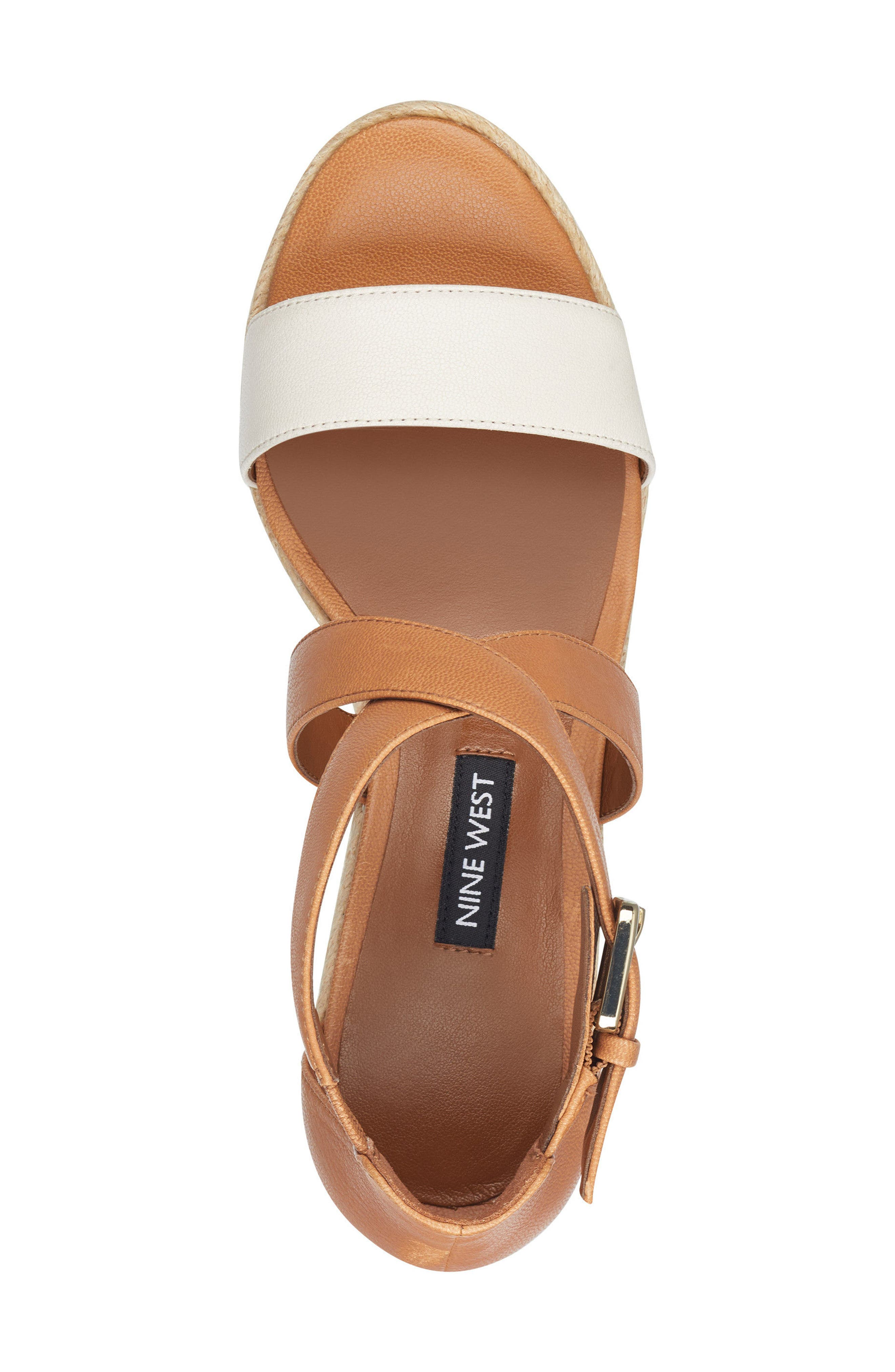 Jorjapeach Espadrille Wedge Sandal,                             Alternate thumbnail 5, color,                             White Leather