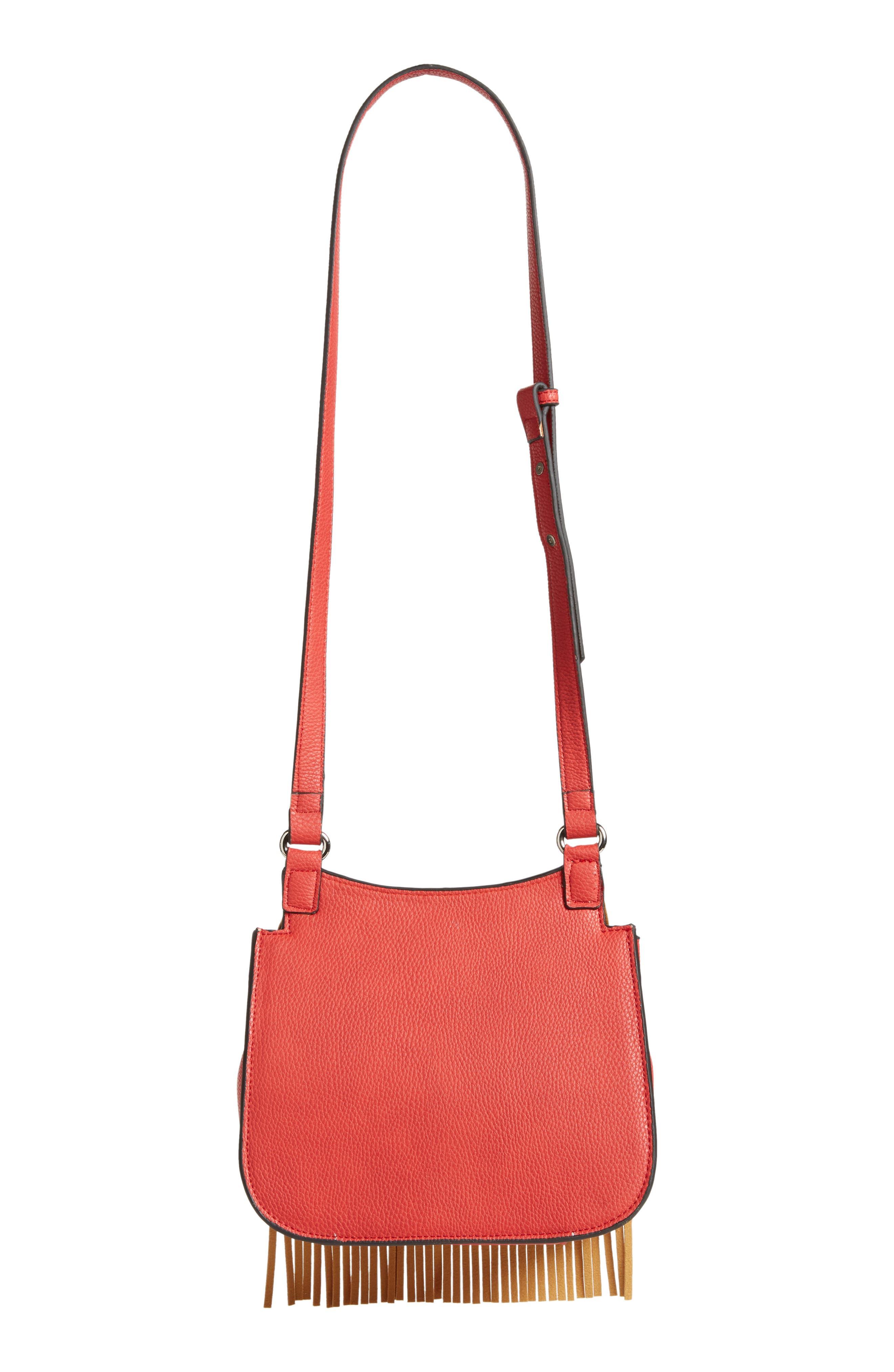 Mini Laine Fringe Crossbody Bag,                             Alternate thumbnail 3, color,                             Red