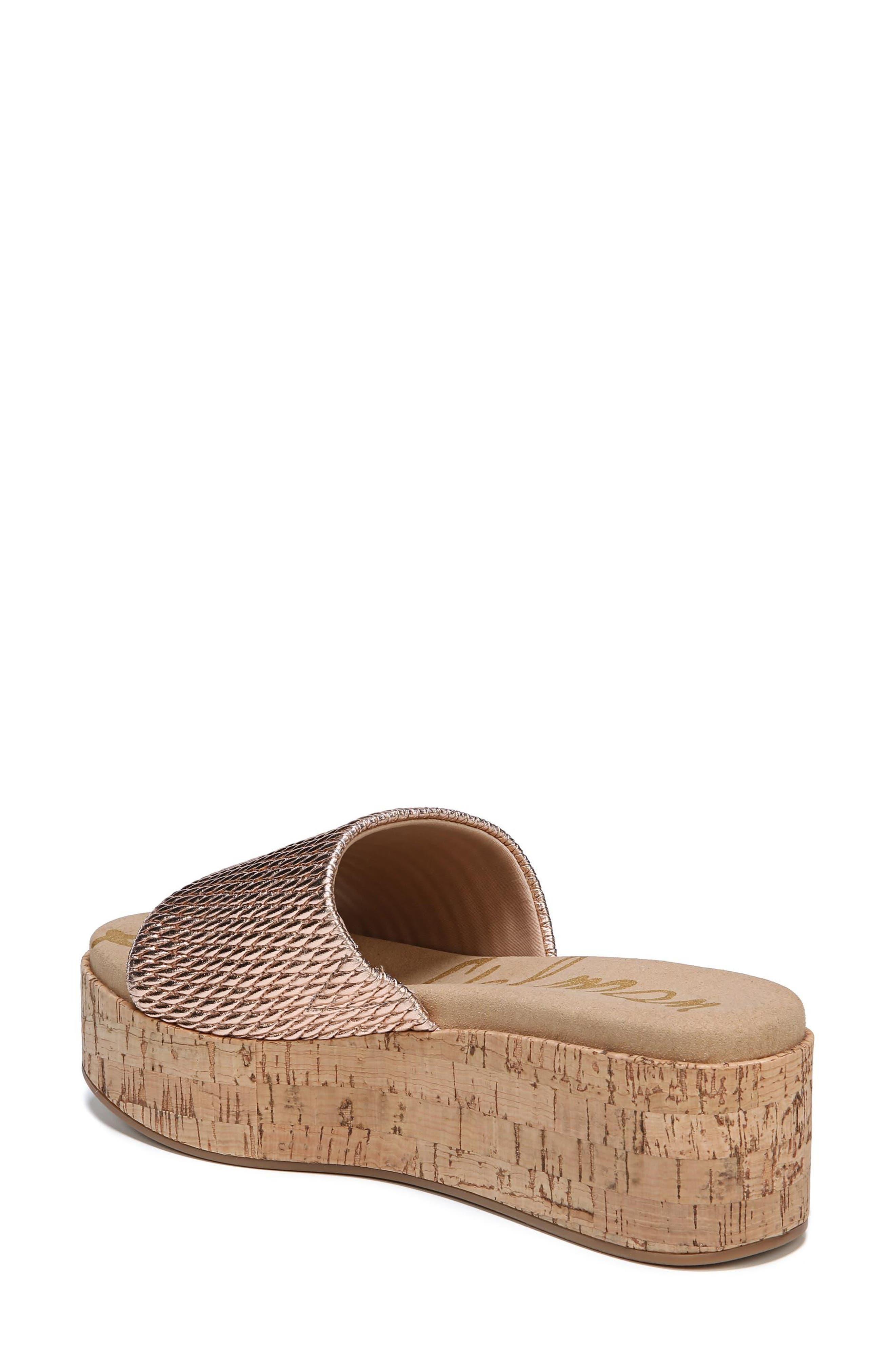 Wendi Platform Slide Sandal,                             Alternate thumbnail 2, color,                             Blush Gold Metallic Fabric
