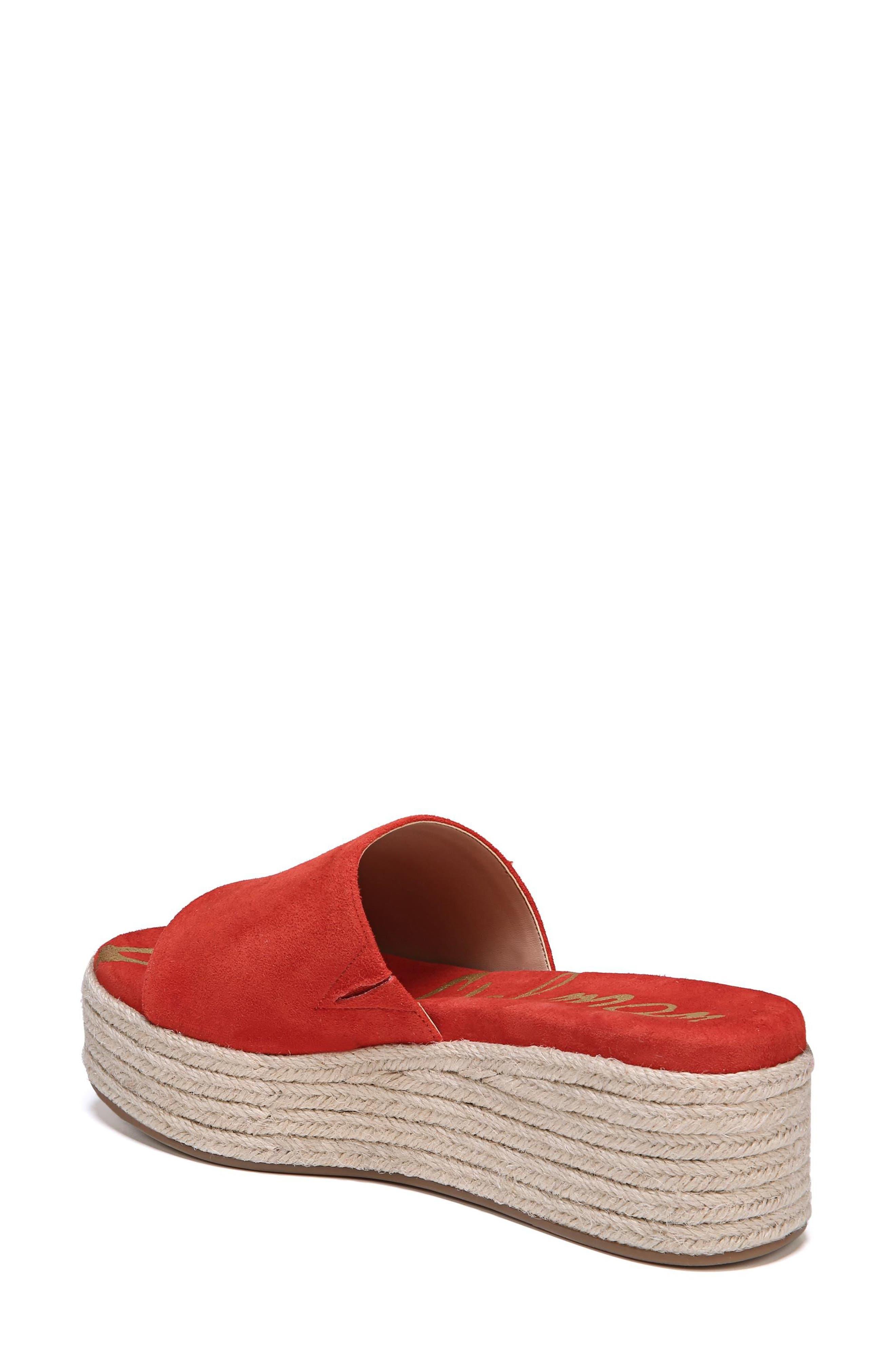 Weslee Platform Slide Sandal,                             Alternate thumbnail 2, color,                             Candy Red Suede