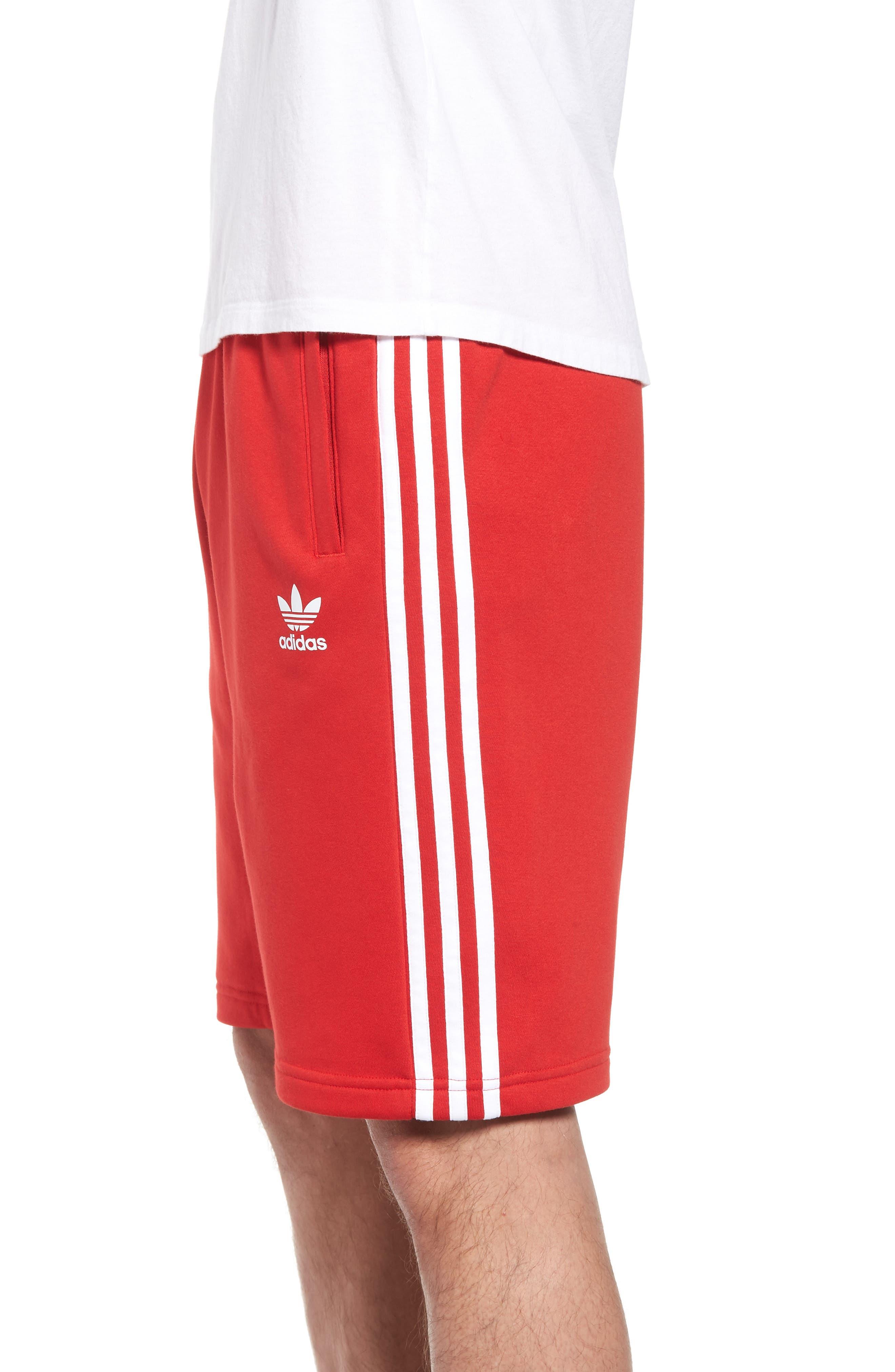 3-Stripes Shorts,                             Alternate thumbnail 3, color,                             Red/ White