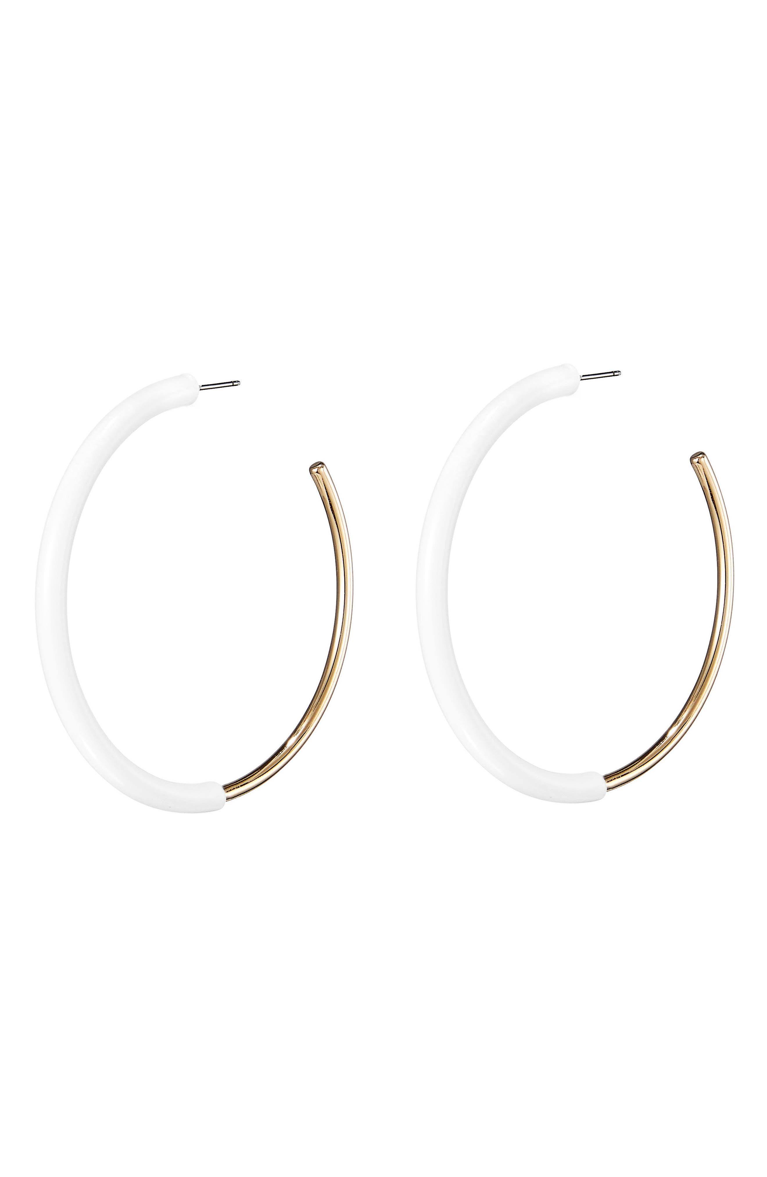 Lola Small Hoop Earrings,                             Alternate thumbnail 3, color,                             Gold/ White