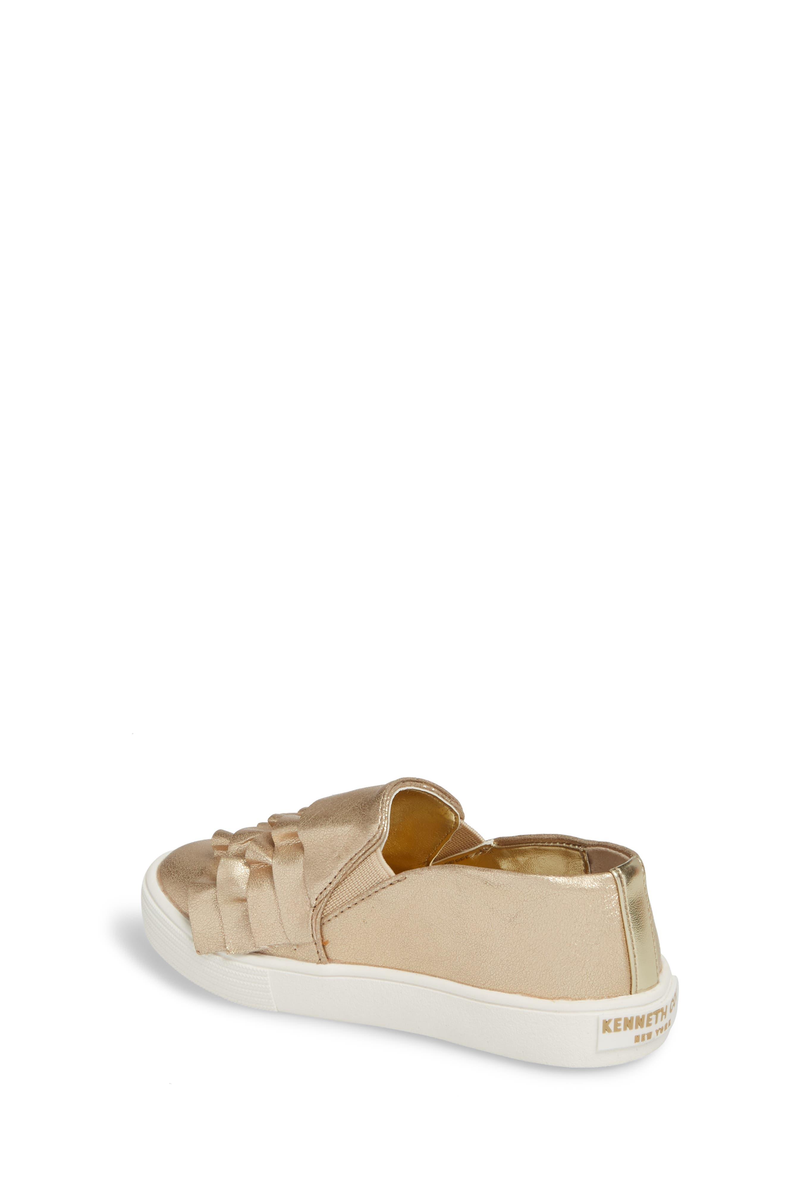 Shimmery Kam Ruffle Slip-On Sneaker,                             Alternate thumbnail 2, color,                             Gold