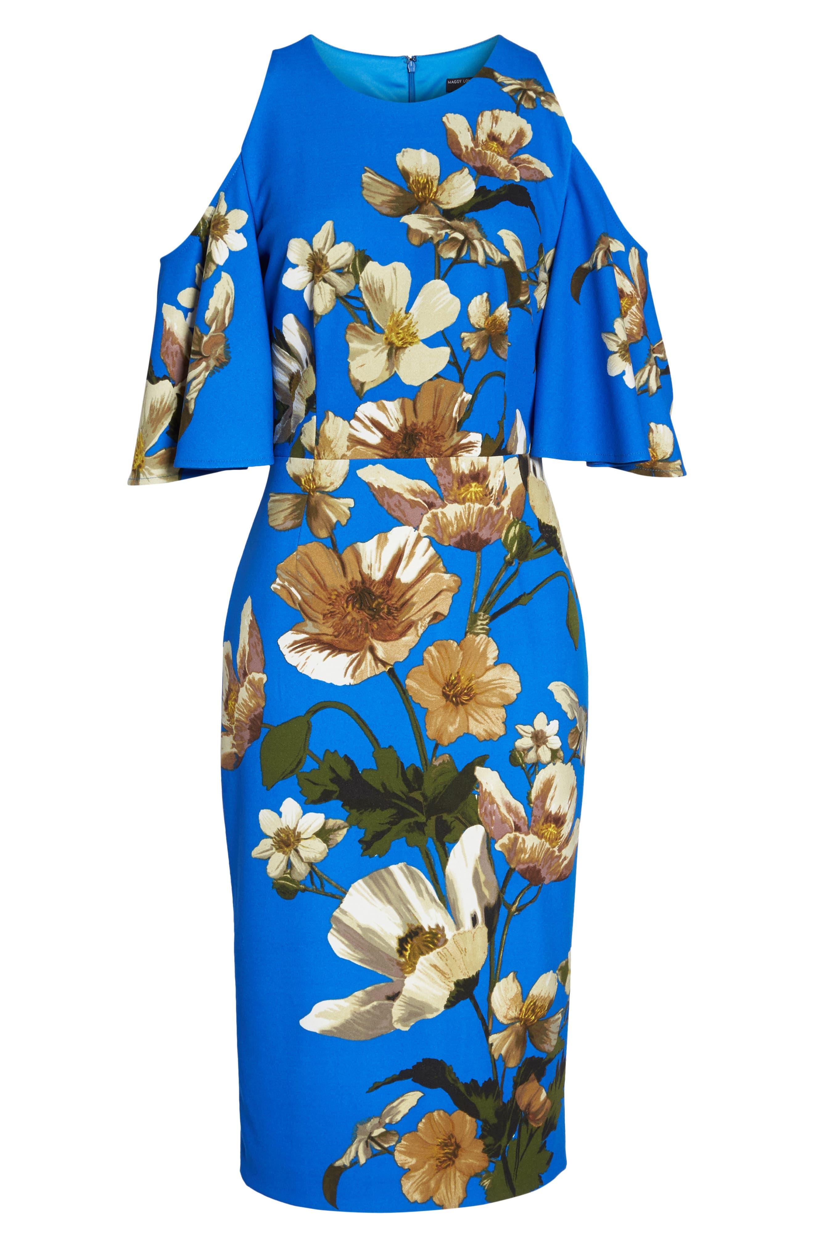 Floral Cold Shoulder Sheath Dress,                             Alternate thumbnail 7, color,                             Blue/ Neutral