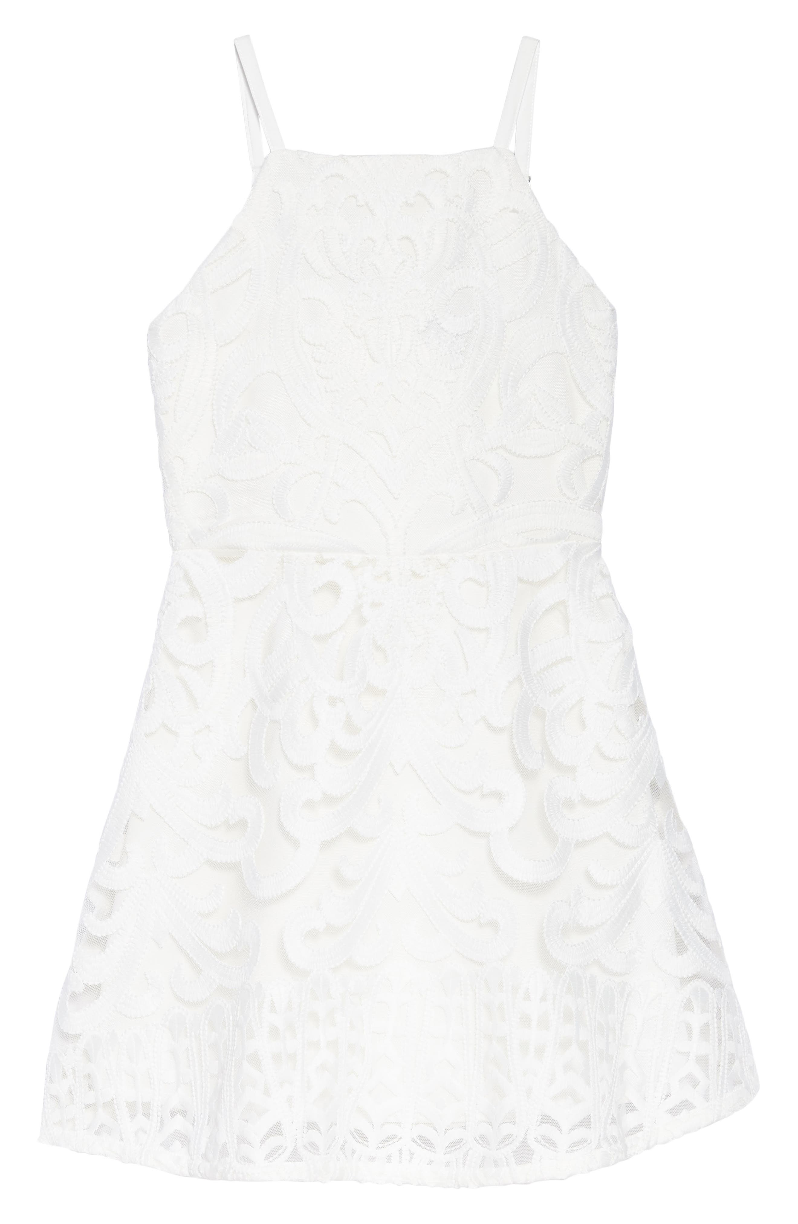 Gia Lace Dress,                             Main thumbnail 1, color,                             Ivory