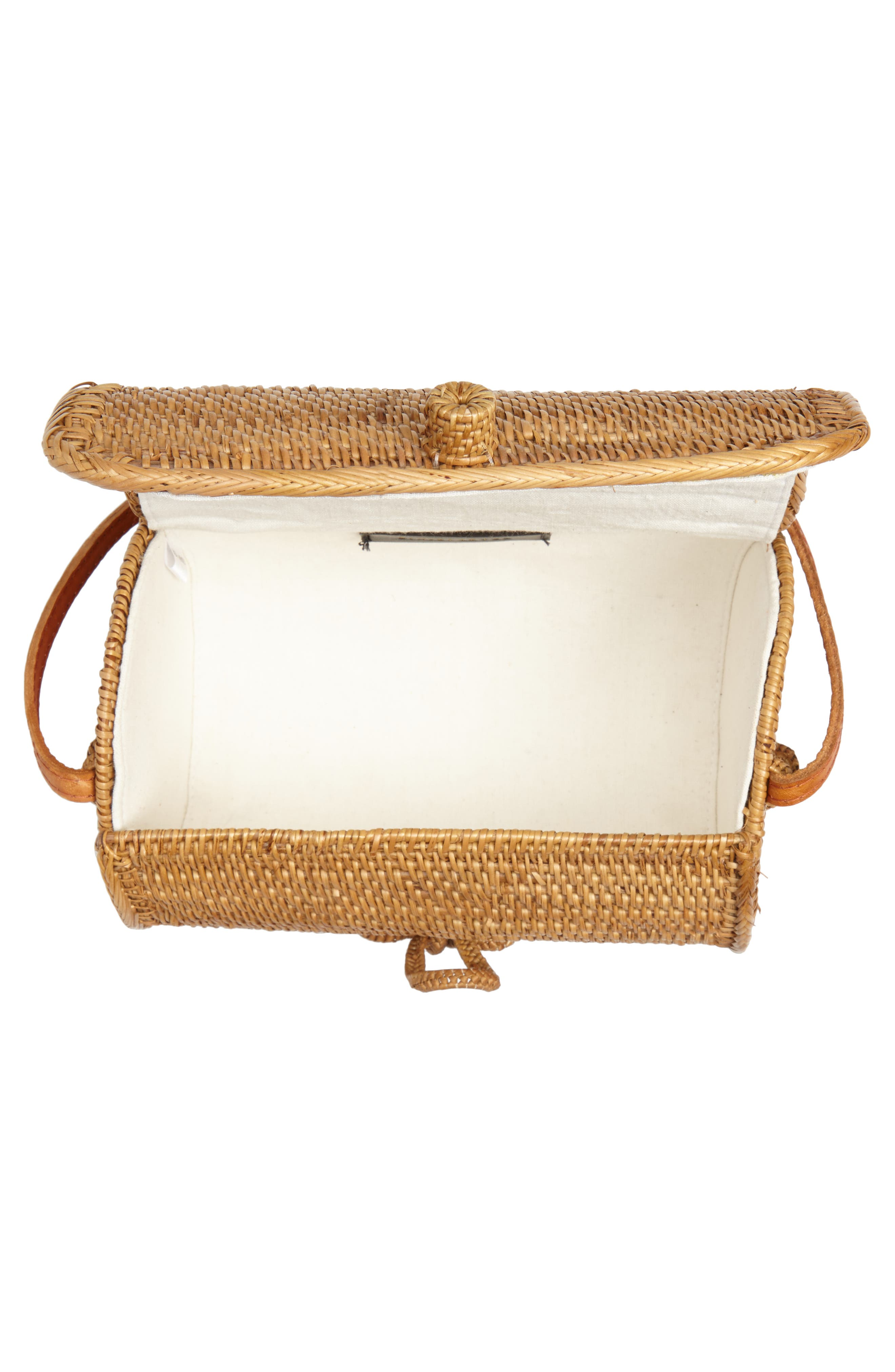 Cylinder Woven Crossbody Bag,                             Alternate thumbnail 4, color,                             Tan