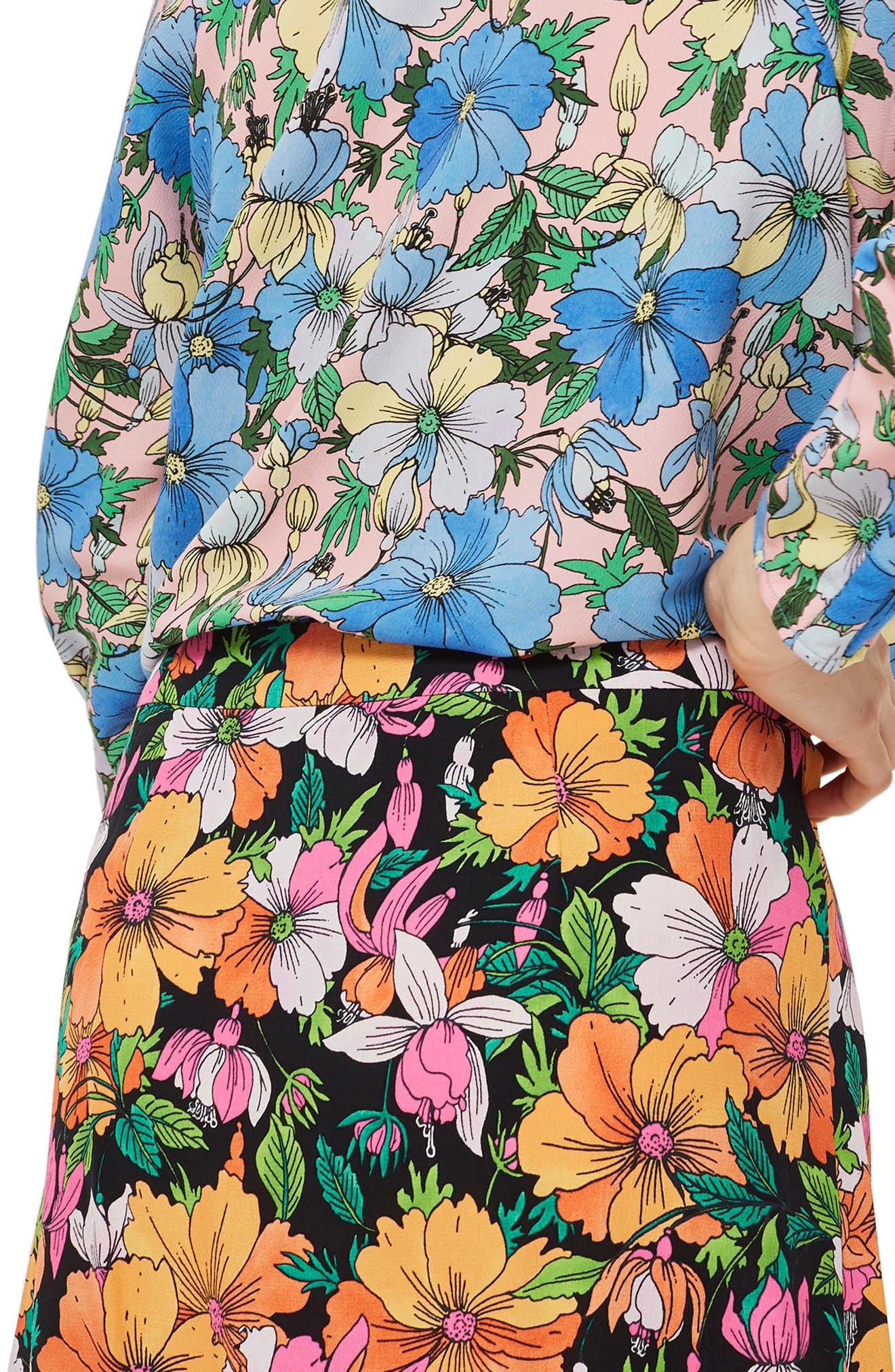 Heavy Petal Print Midi Skirt,                             Alternate thumbnail 2, color,                             Black Multi