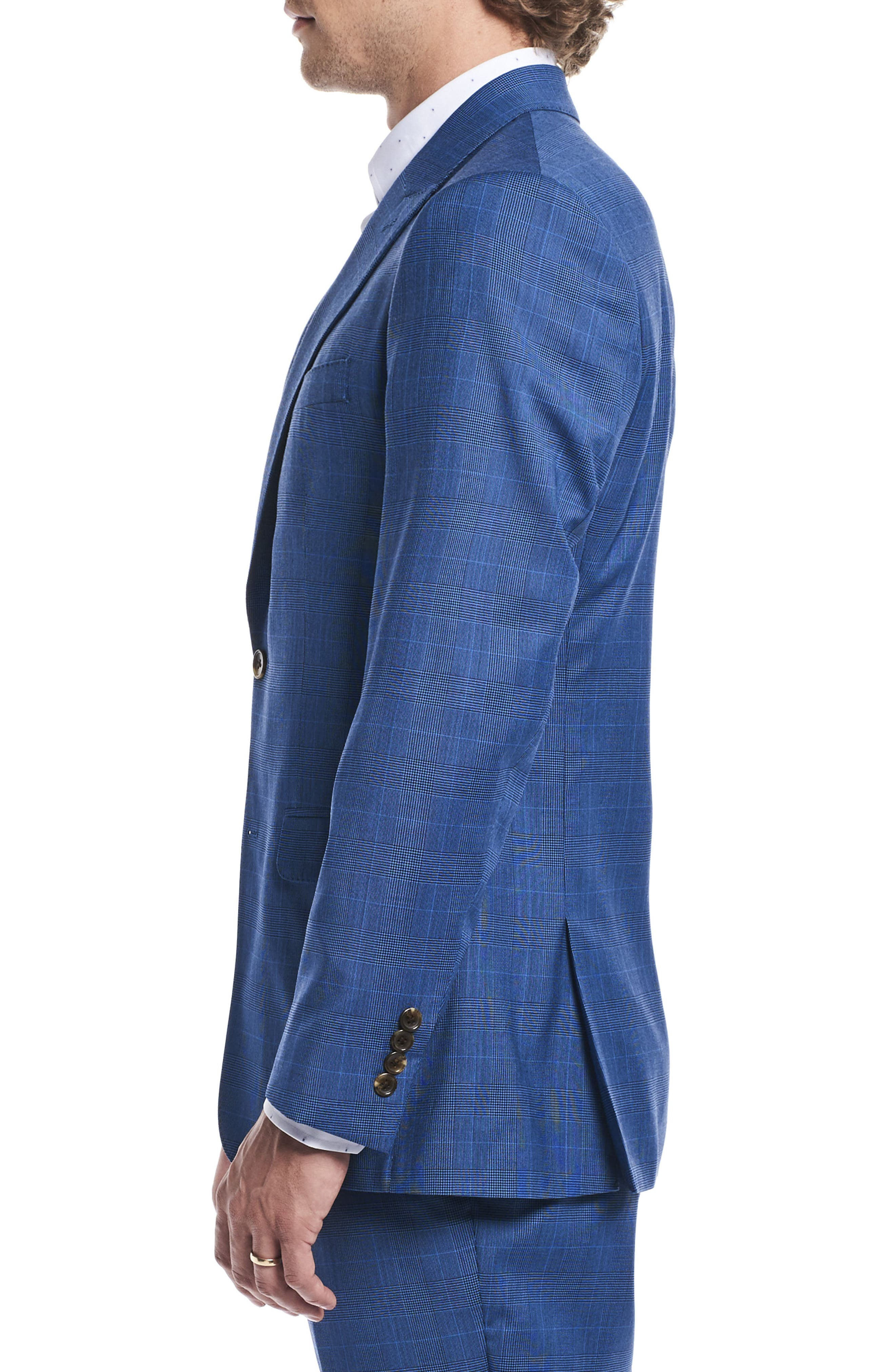 by Ilaria Urbinati Zooey Slim Fit Plaid Wool Suit,                             Alternate thumbnail 5, color,                             French Blue Glen Plaid