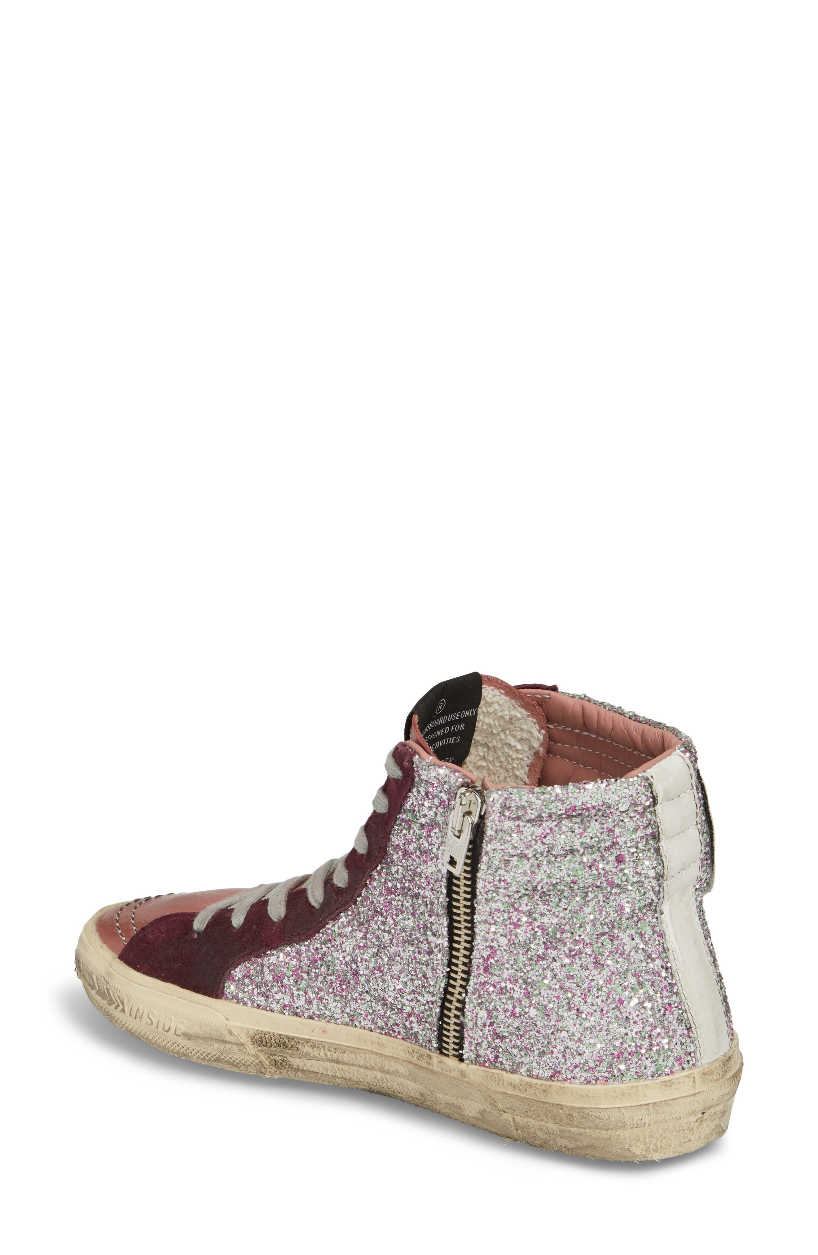 Slide High Top Sneaker,                             Alternate thumbnail 2, color,                             Bordeaux / Pink/ Gold