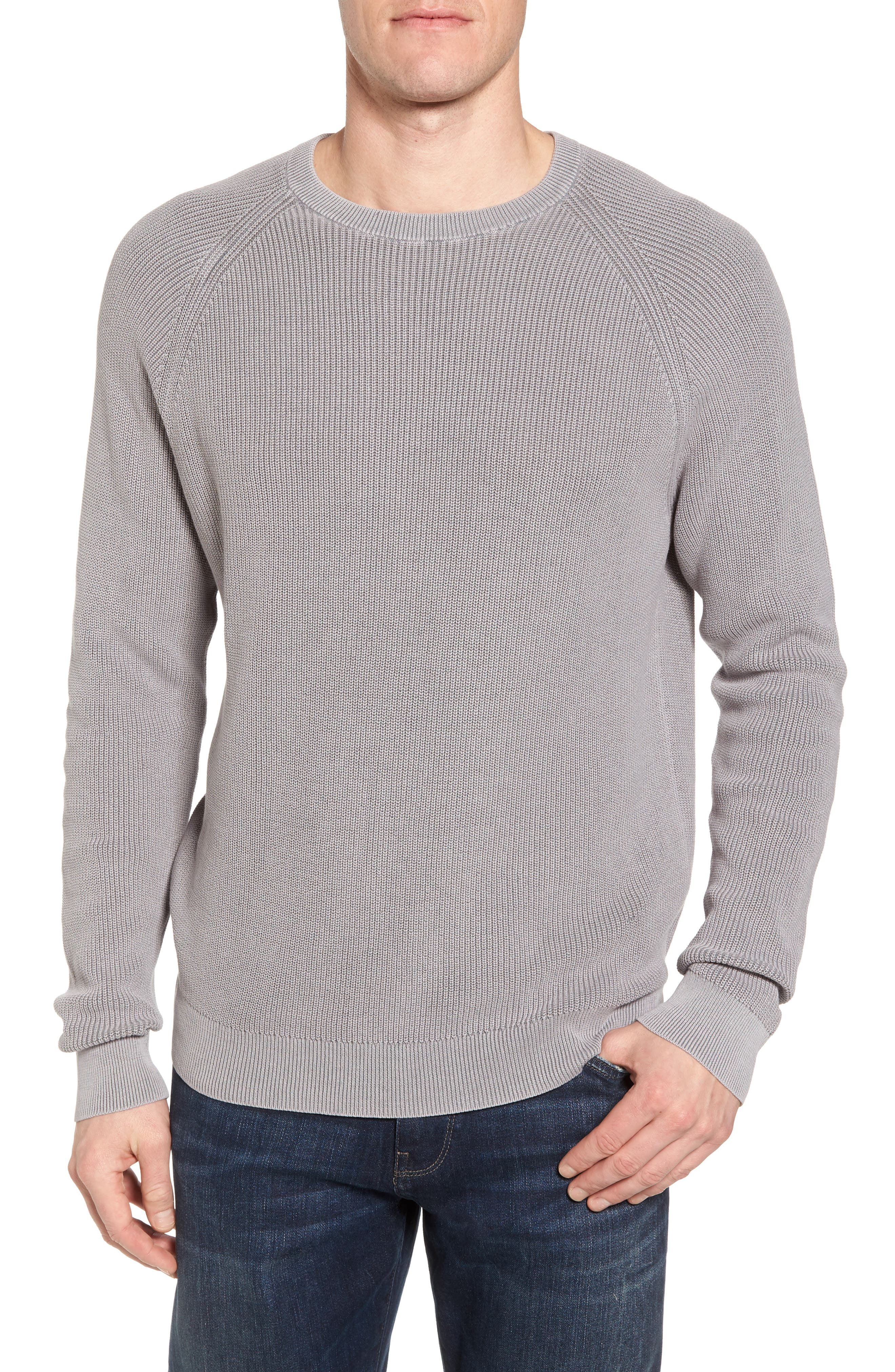 Ribbed Sweater,                         Main,                         color, Grey Weather