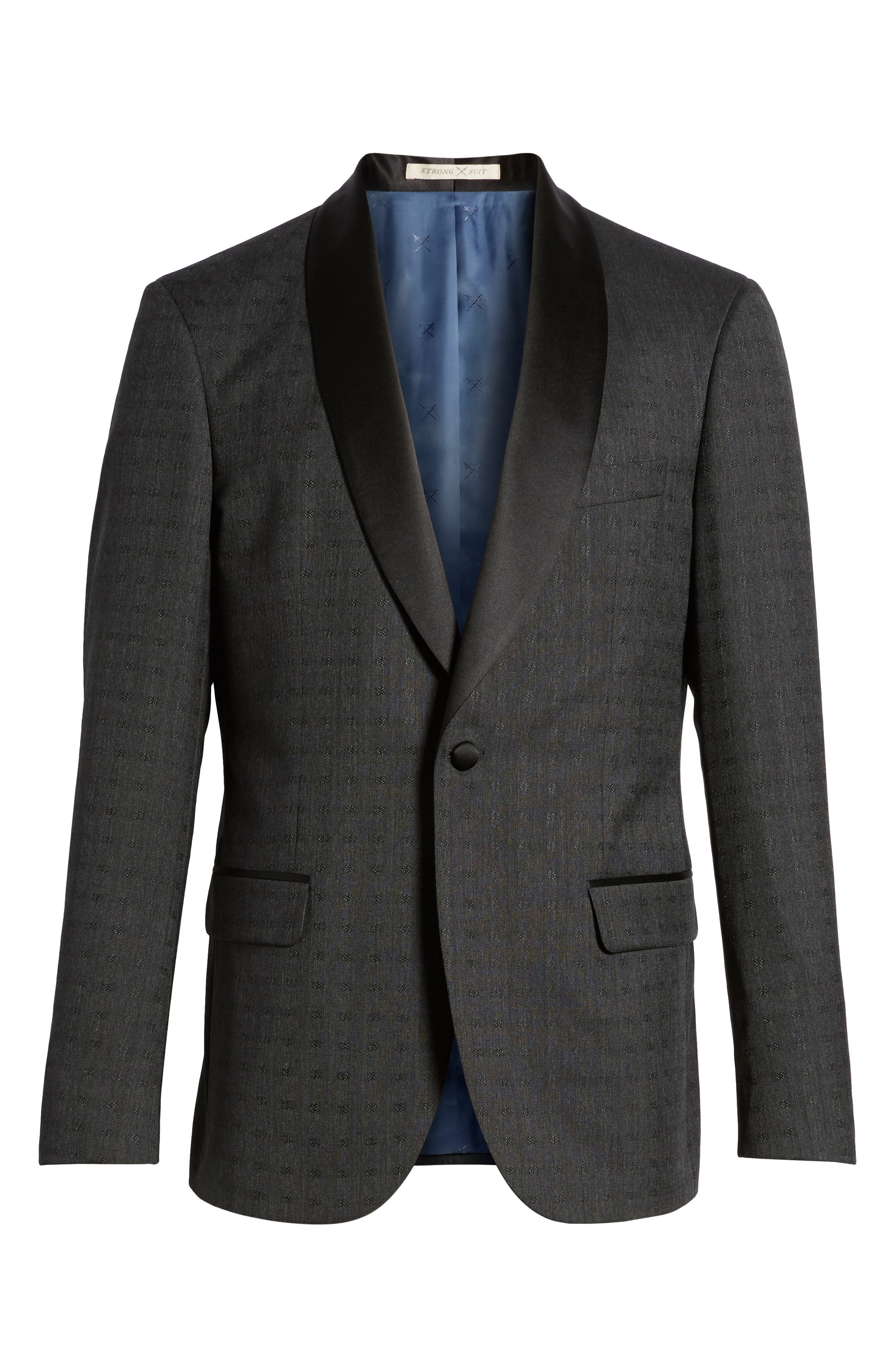 Morgan Trim Fit Wool Dinner Jacket,                             Alternate thumbnail 6, color,                             Charcoal Dobby