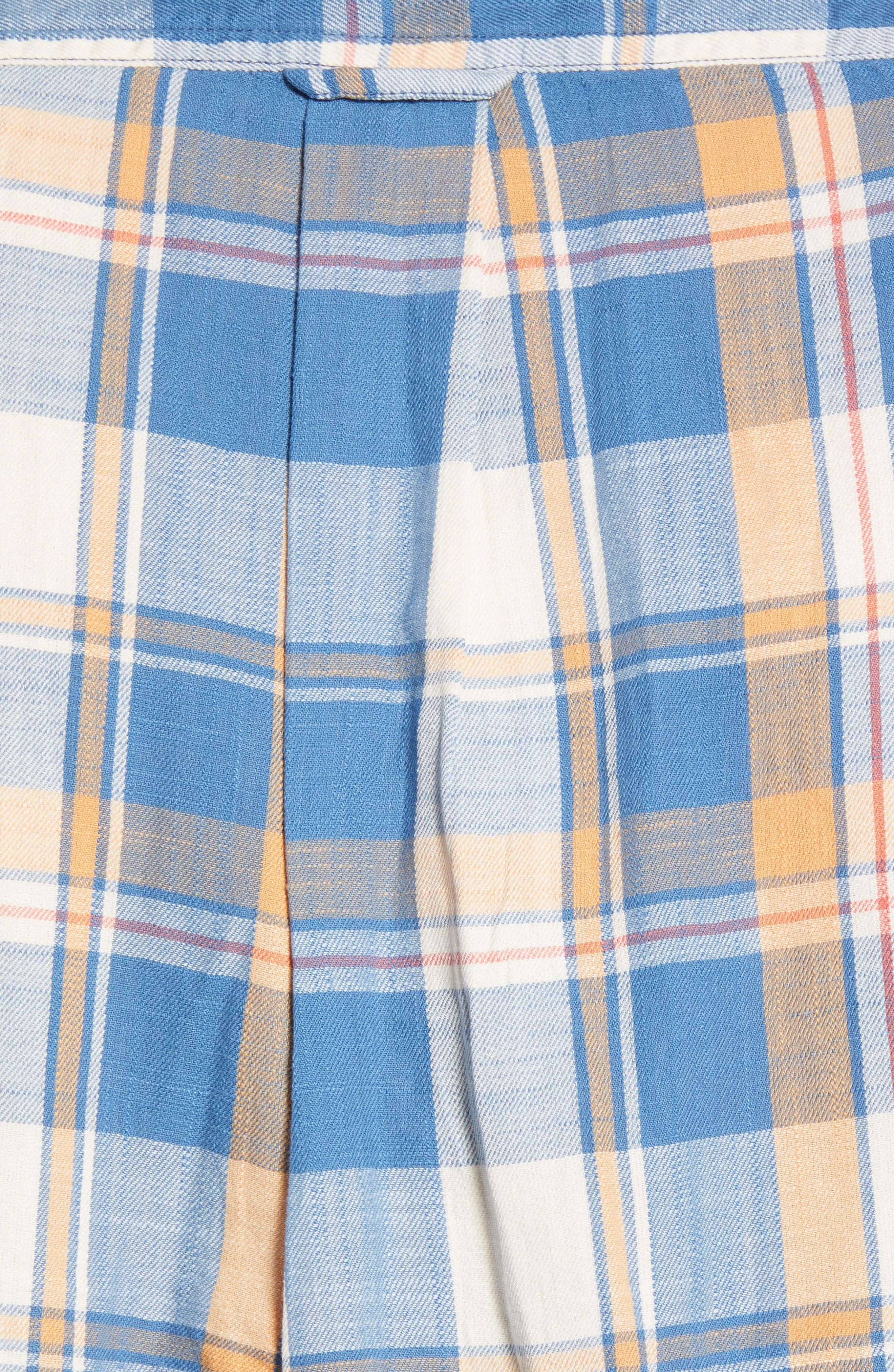 Sherman Plaid Slub Twill Sport Shirt,                             Alternate thumbnail 5, color,                             Blue Mustard Red