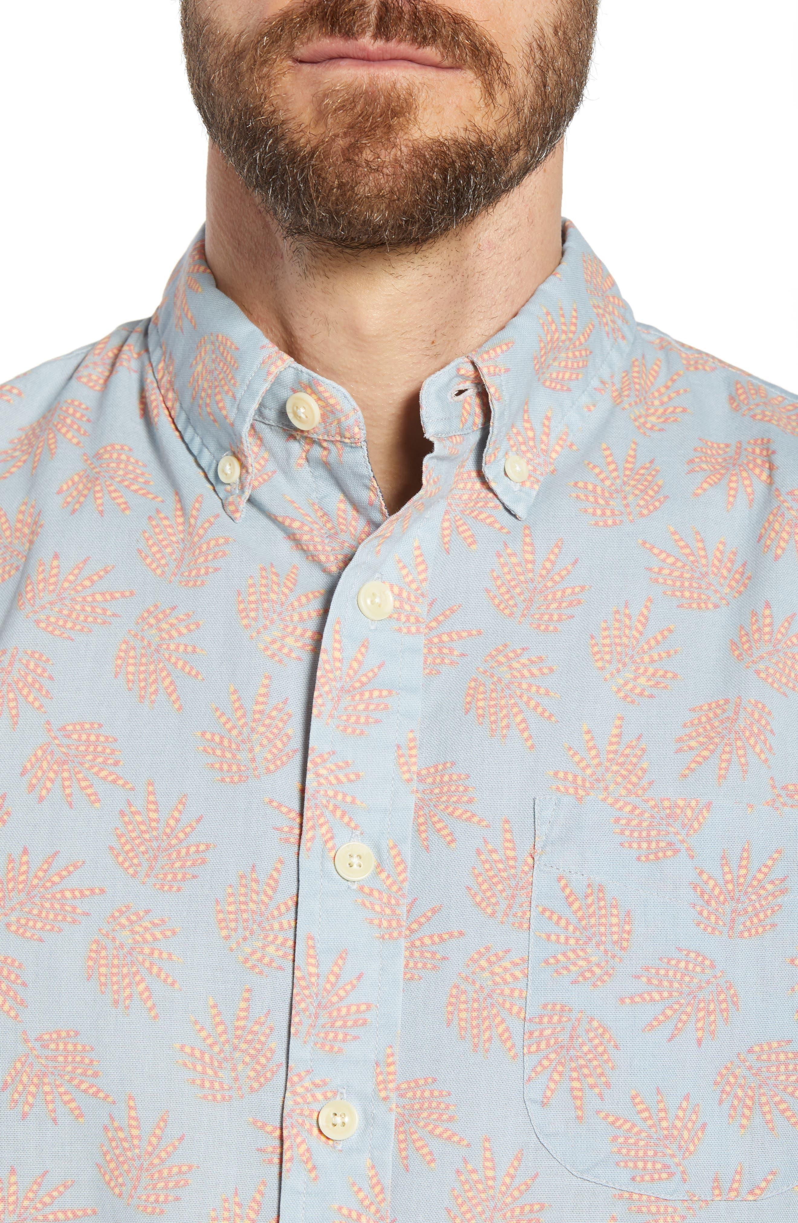 Palm Leaf Sport Shirt,                             Alternate thumbnail 2, color,                             Red Leaf On Blue