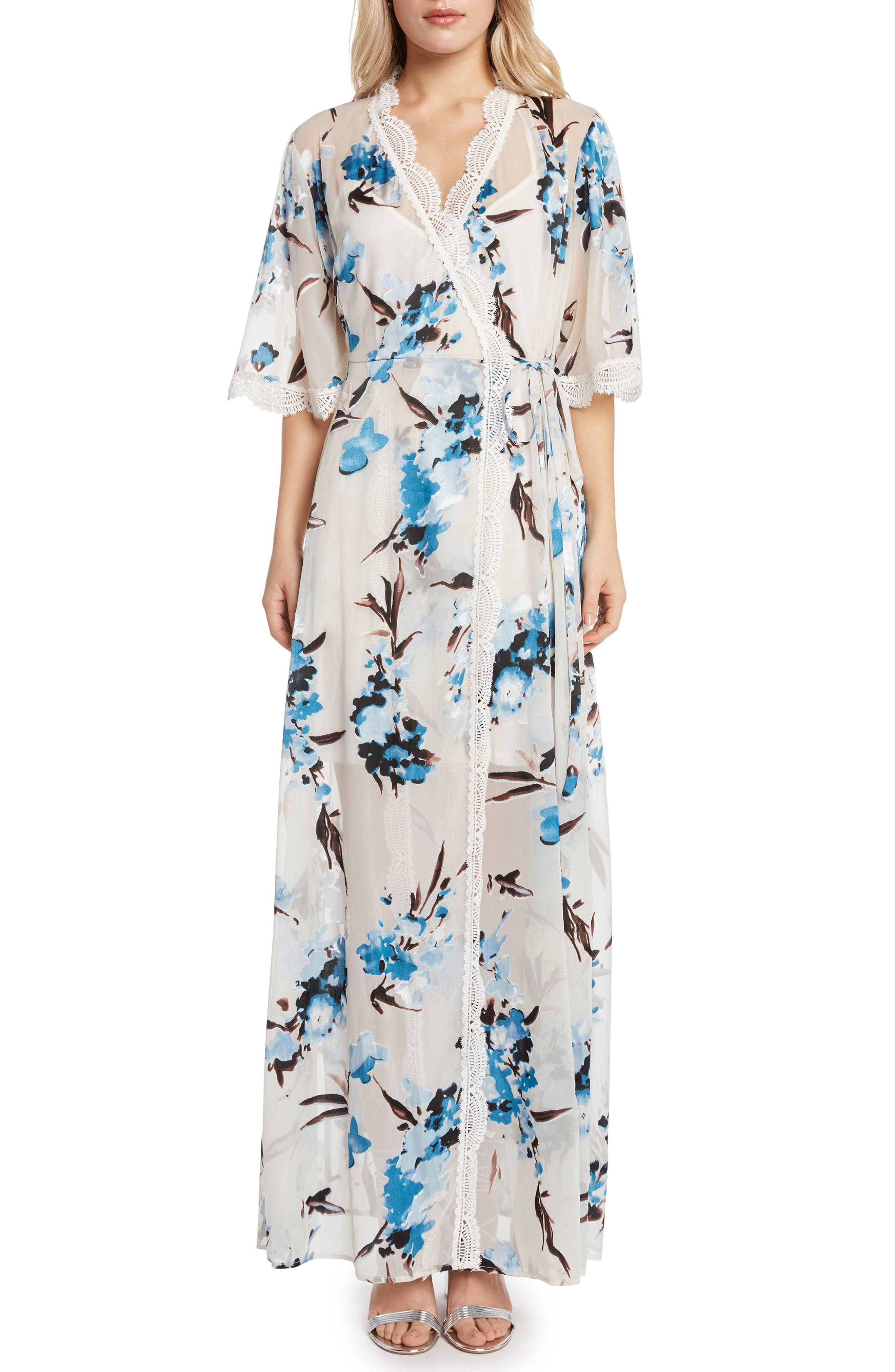 Wrap Maxi Dress,                             Main thumbnail 1, color,                             Sky