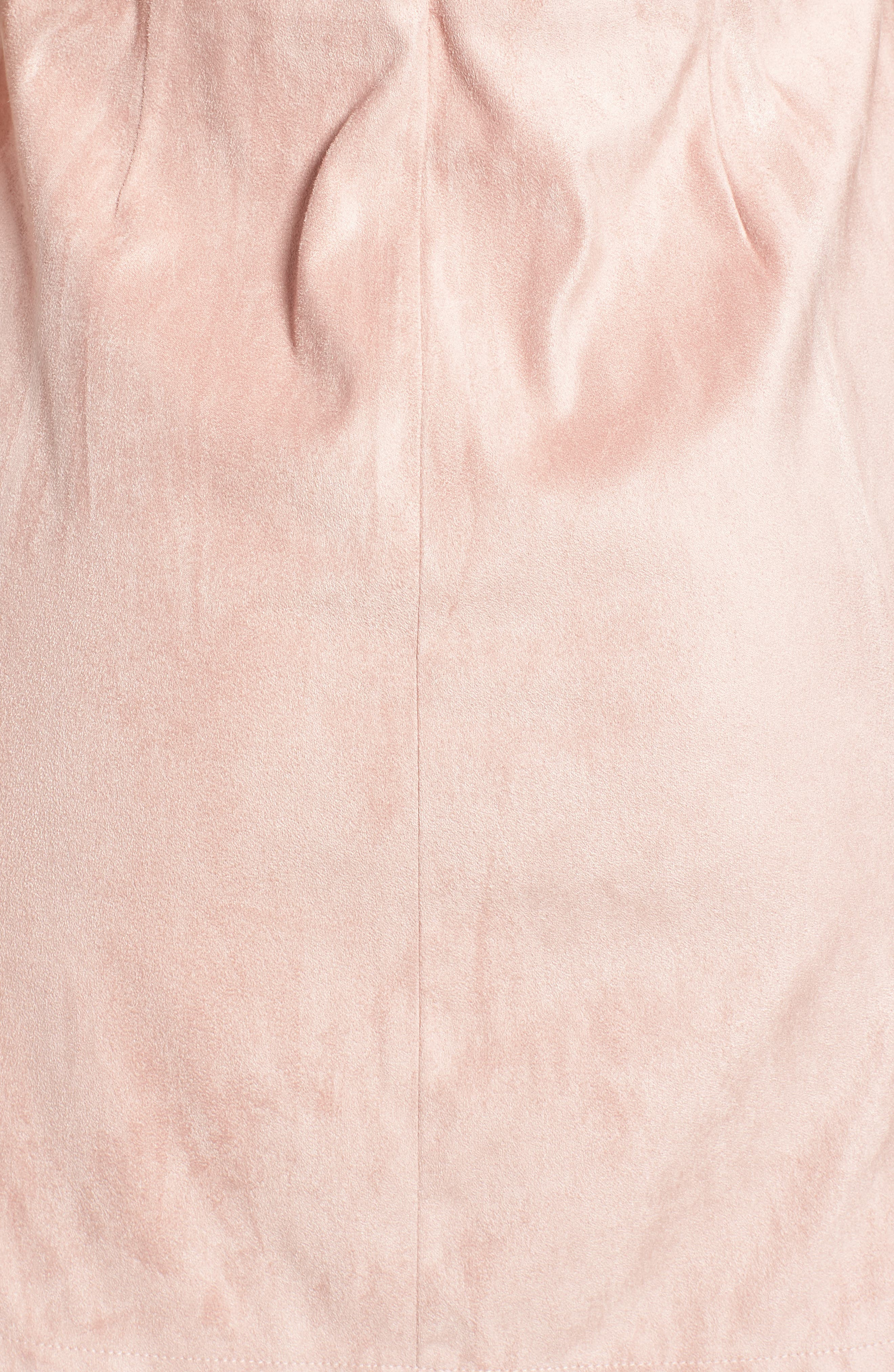 Daton Faux Suede Dress,                             Alternate thumbnail 6, color,                             Nude Pink
