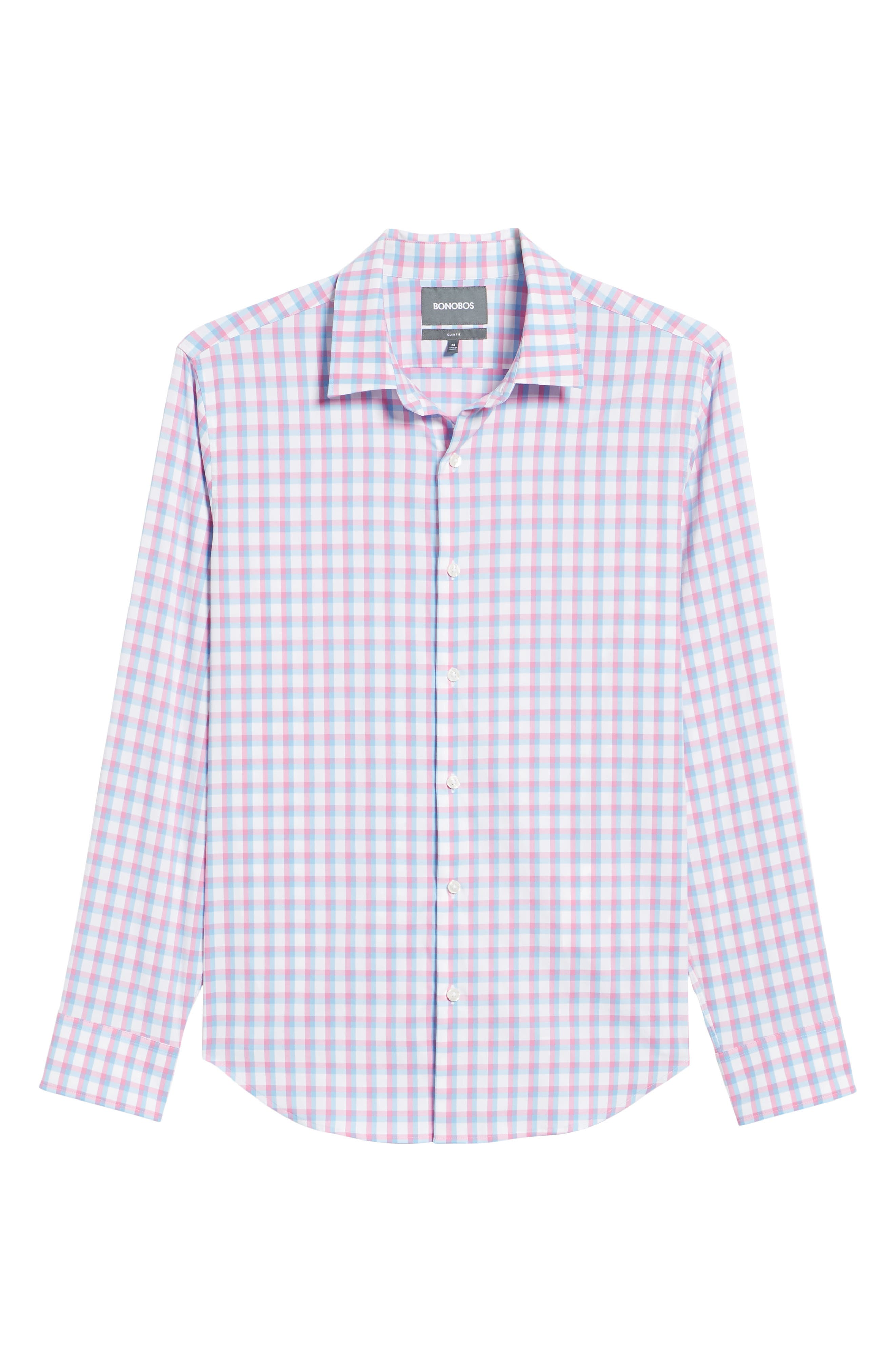 Slim Fit Check Performance Sport Shirt,                             Alternate thumbnail 6, color,                             Ultimo Check - Pacific Pink