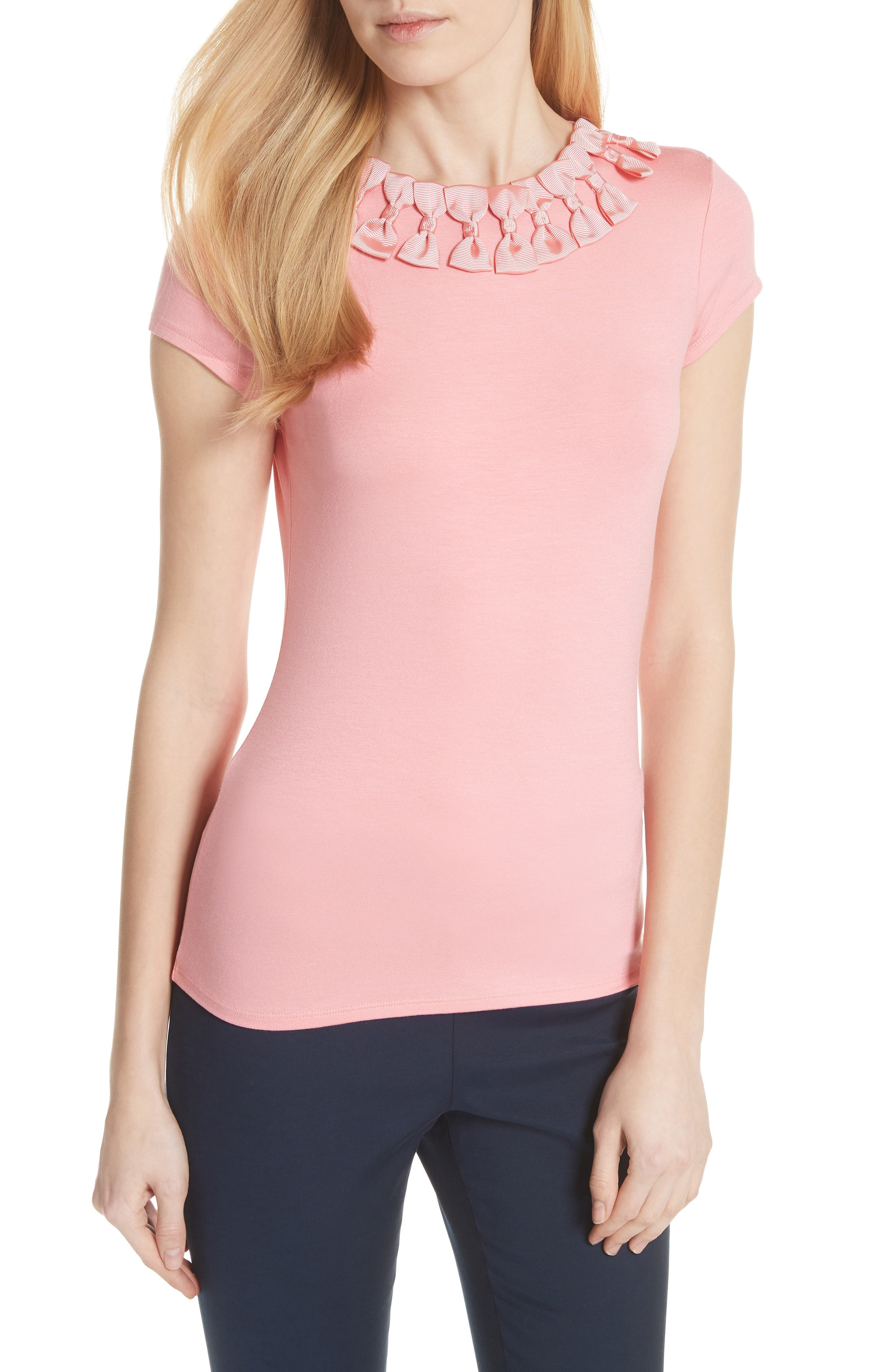 Ted Baker Bow Trim Tee,                             Main thumbnail 1, color,                             Light Orange