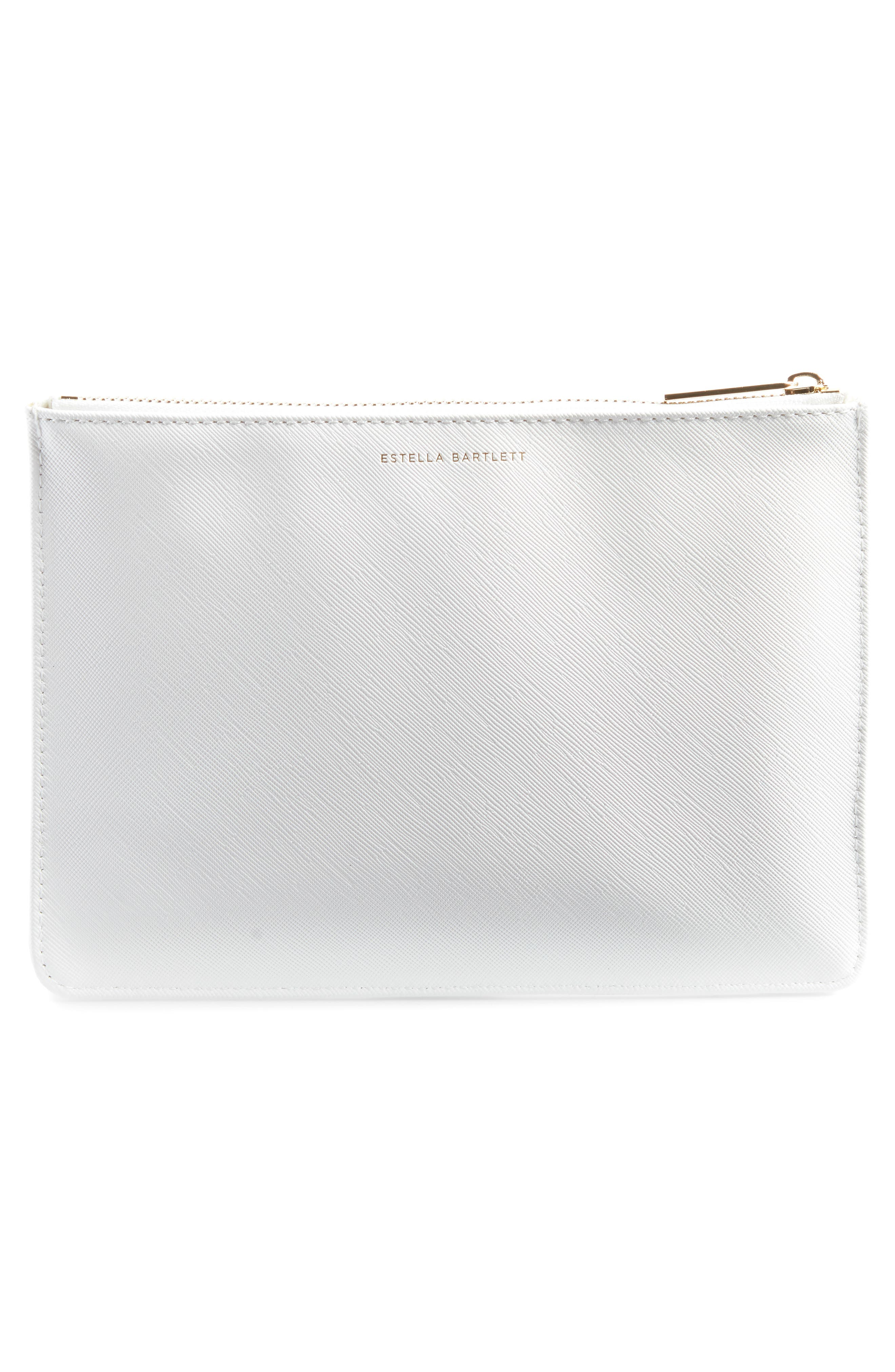 Live As You Dream Medium Faux Leather Pouch,                             Alternate thumbnail 3, color,                             Ivory