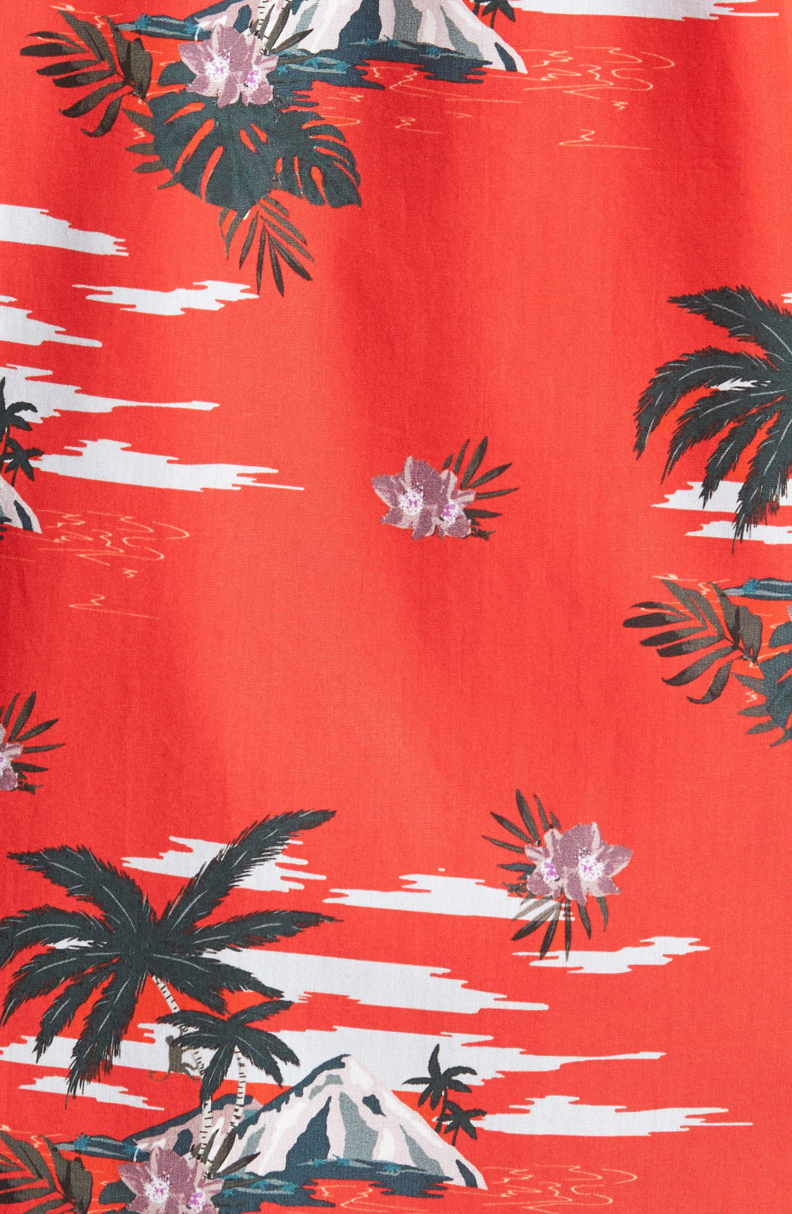 Slim Fit Tropical Pattern Sport Shirt,                             Alternate thumbnail 5, color,                             Red
