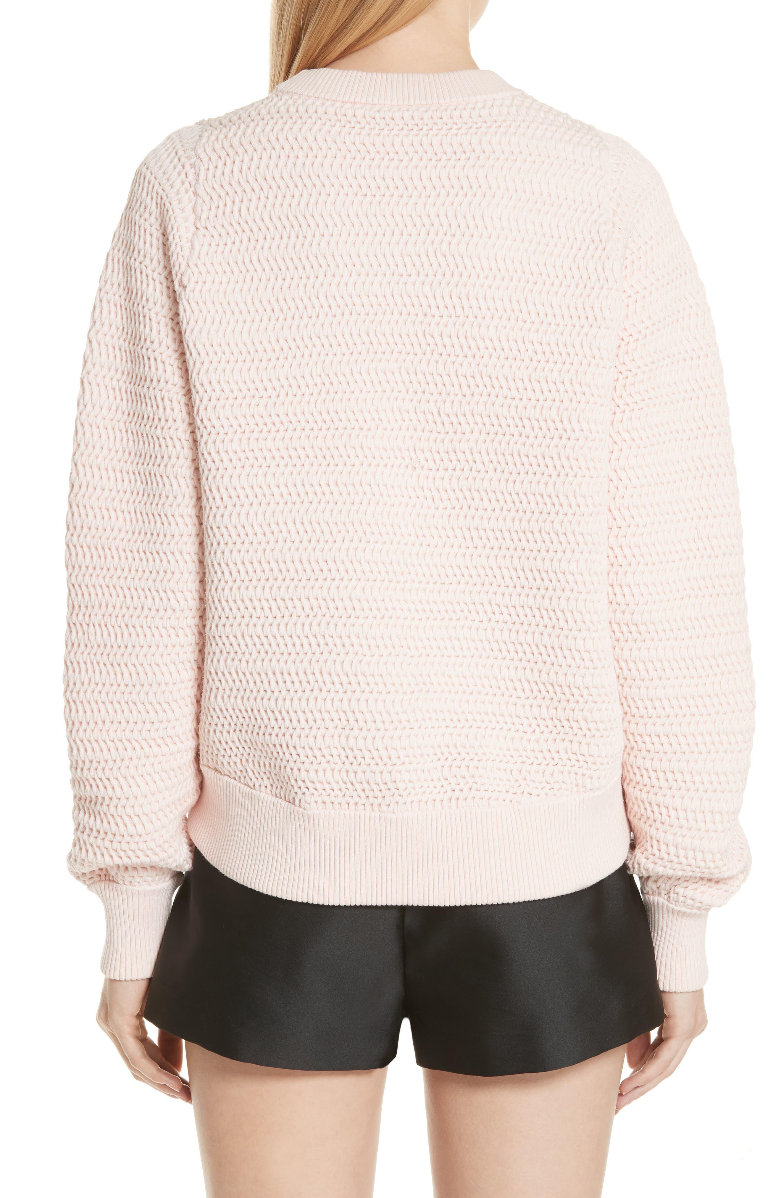 Faux Plait Silk Blend Cocoon Pullover,                             Alternate thumbnail 2, color,                             Powder Pink