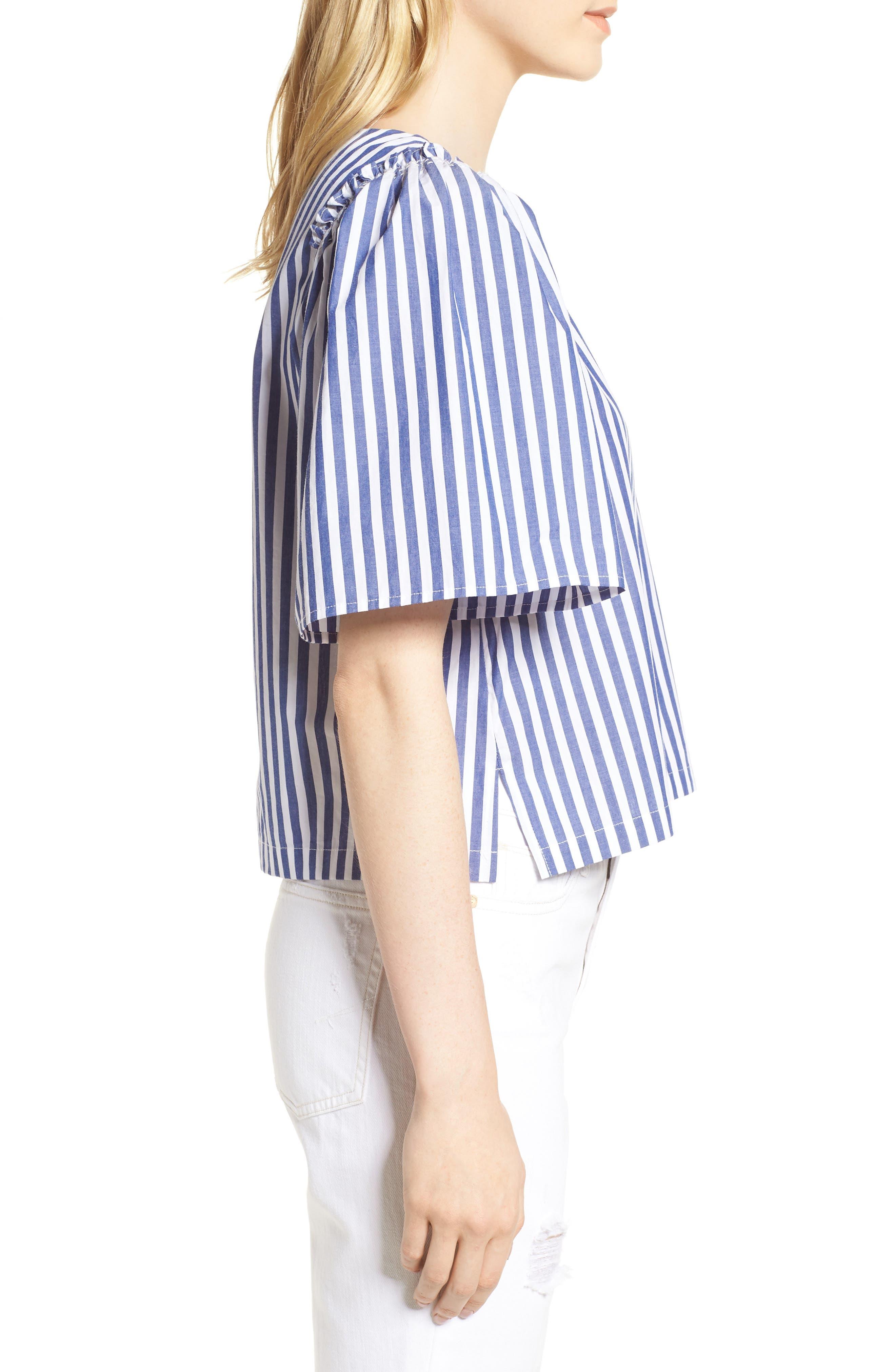 Valeria Stripe Stretch Cotton Top,                             Alternate thumbnail 3, color,                             Blue/ White