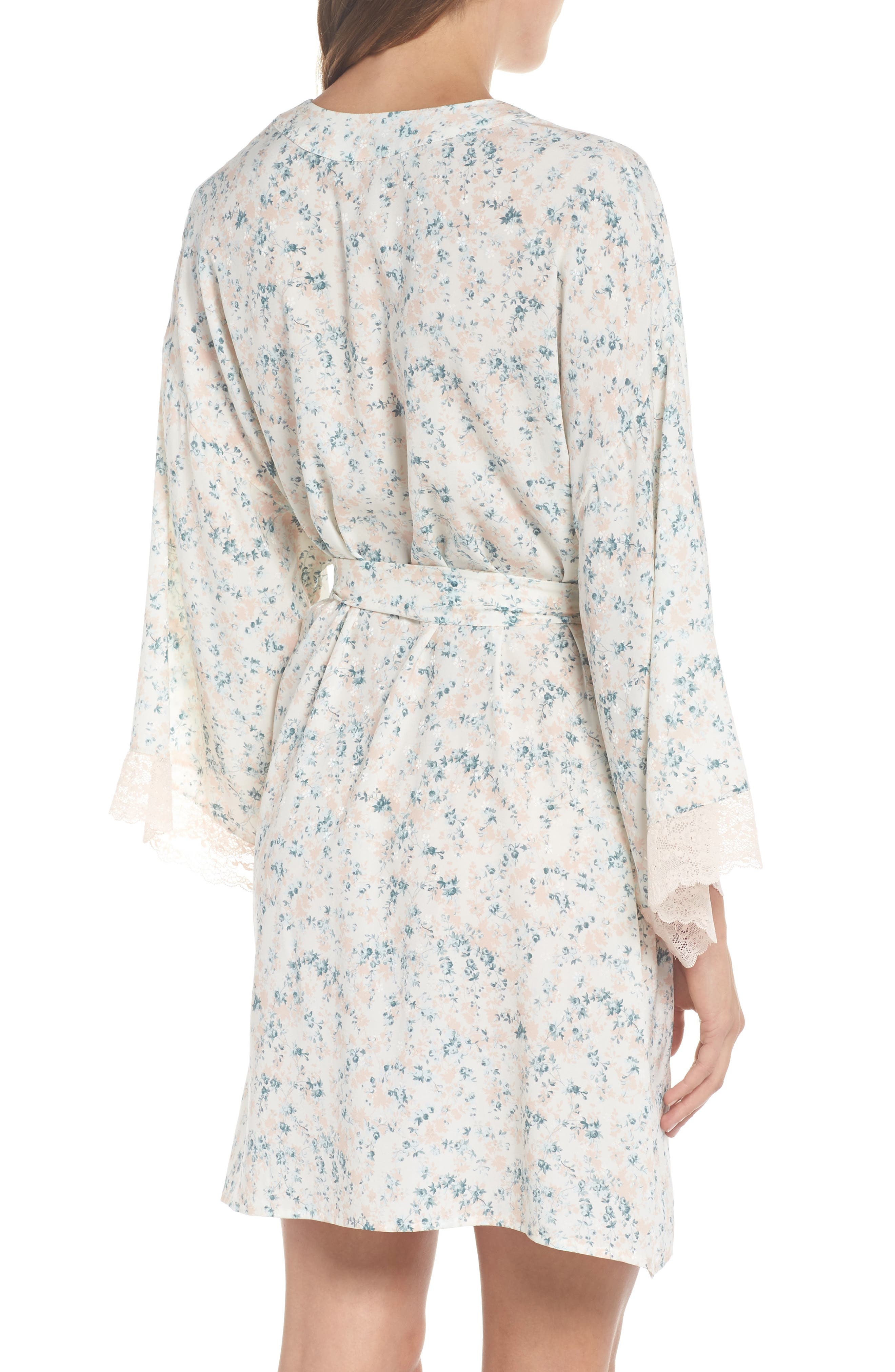 Lily Stretch Silk Short Robe,                             Alternate thumbnail 2, color,                             Ivory Floral Print