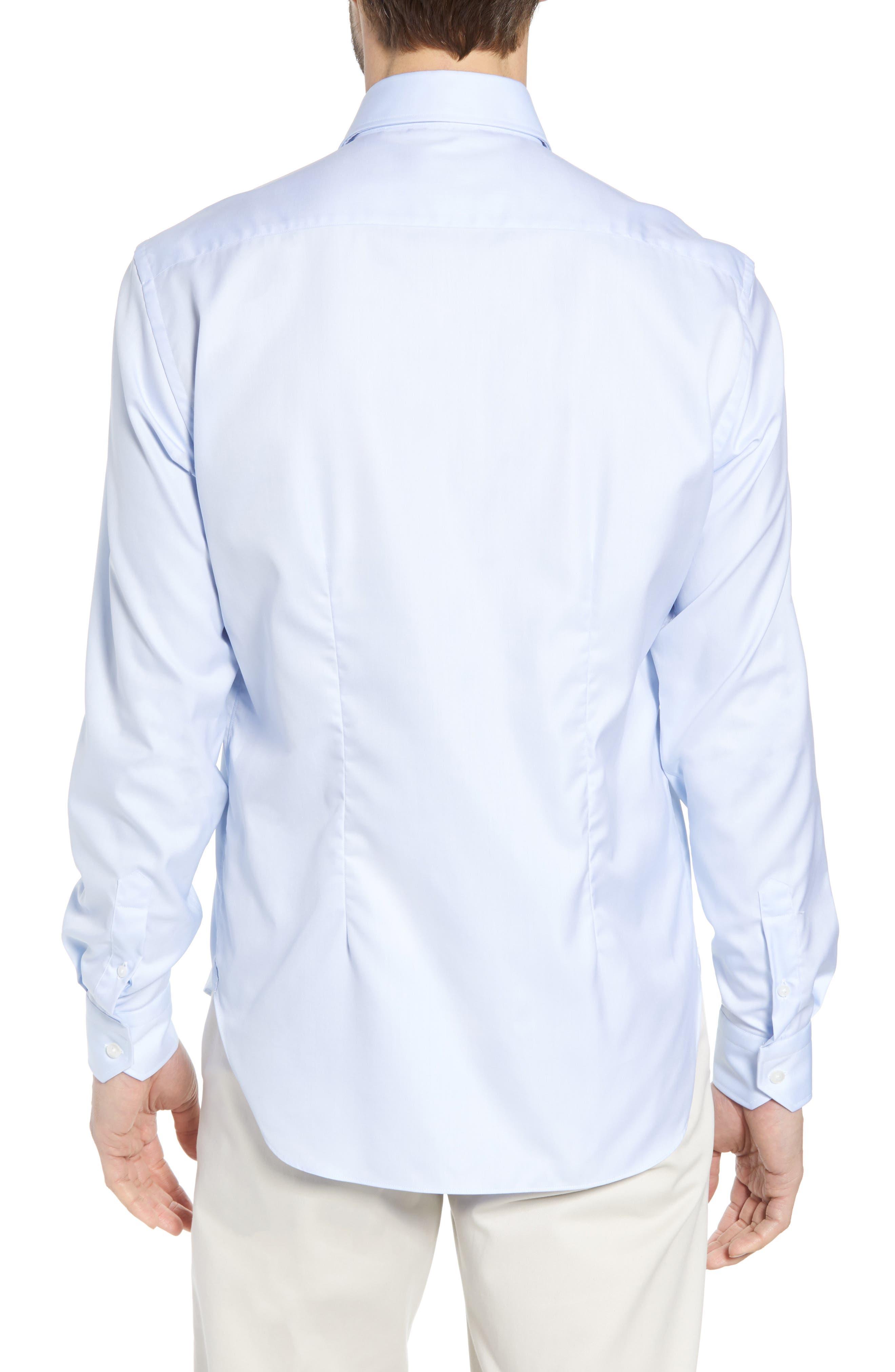 Crease Free Extra Soft Sport Shirt,                             Alternate thumbnail 3, color,                             Blue