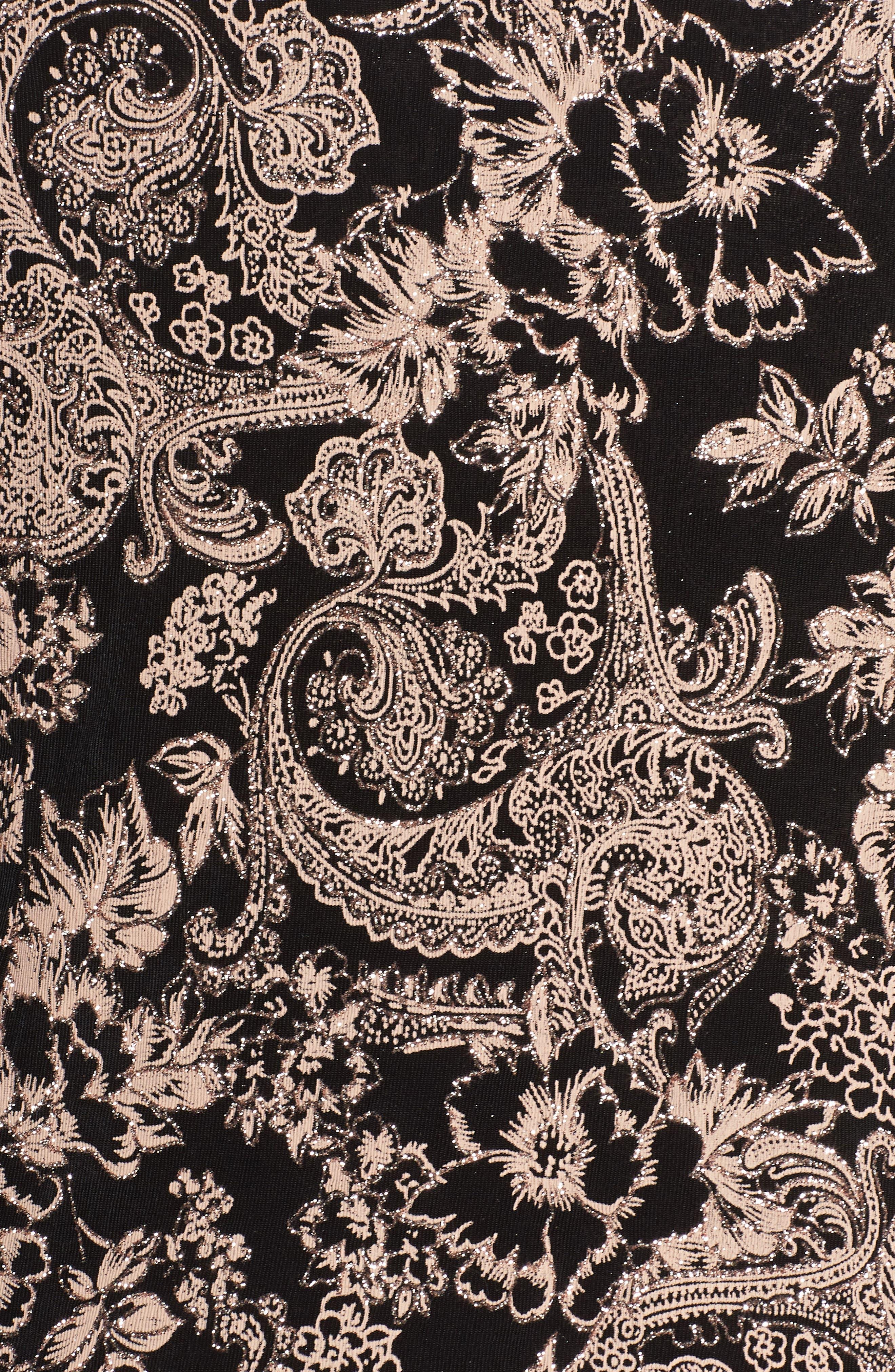 Glitter Print Top & Jacket,                             Alternate thumbnail 5, color,                             Black/ Coral
