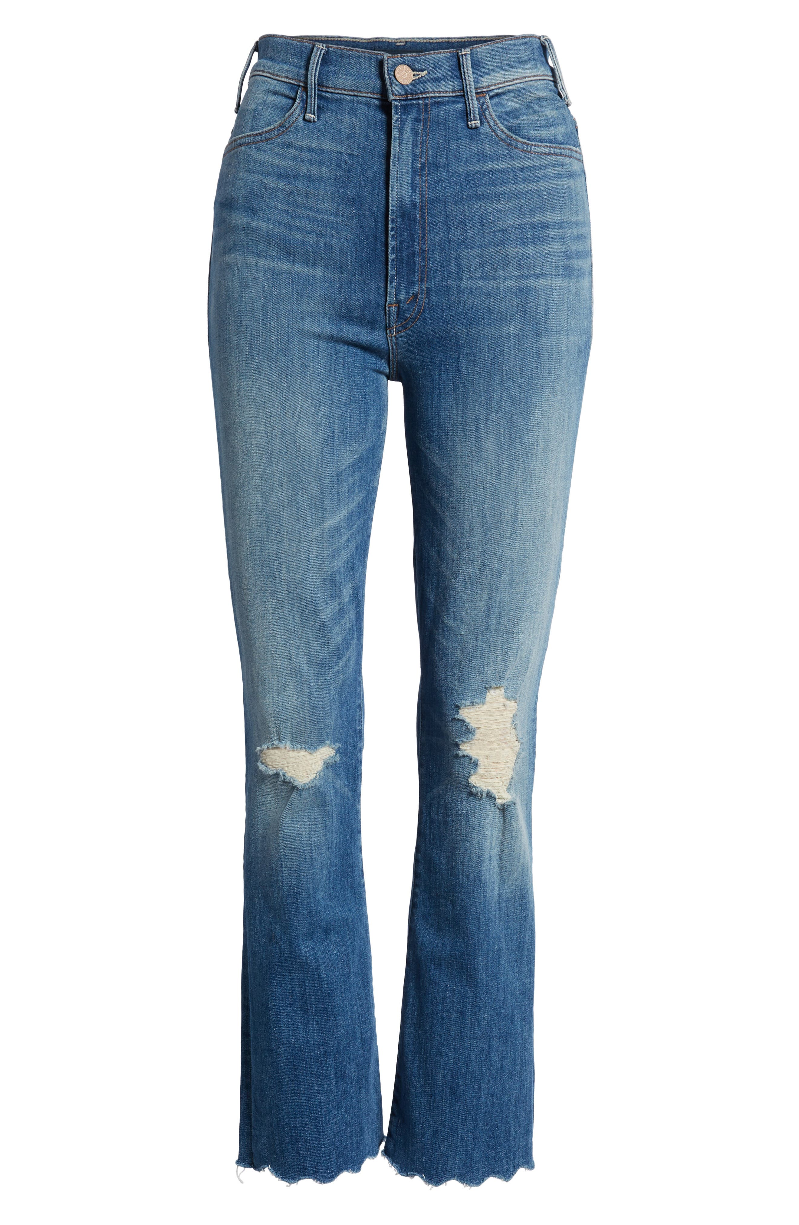 The Hustler High Waist Chew Hem Ankle Jeans,                             Alternate thumbnail 7, color,                             Mums The Word