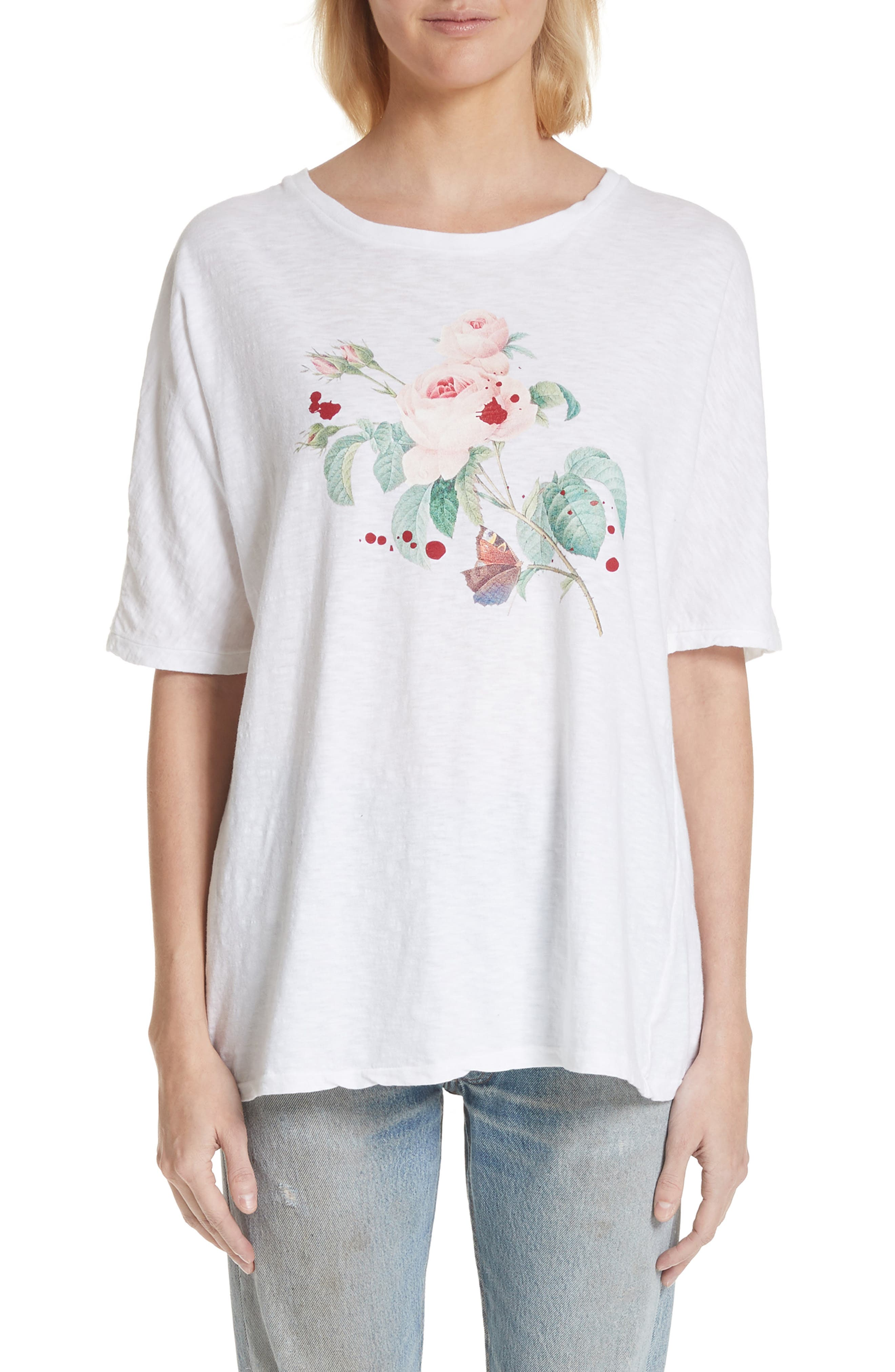 Rose Print Tee,                             Main thumbnail 1, color,                             White