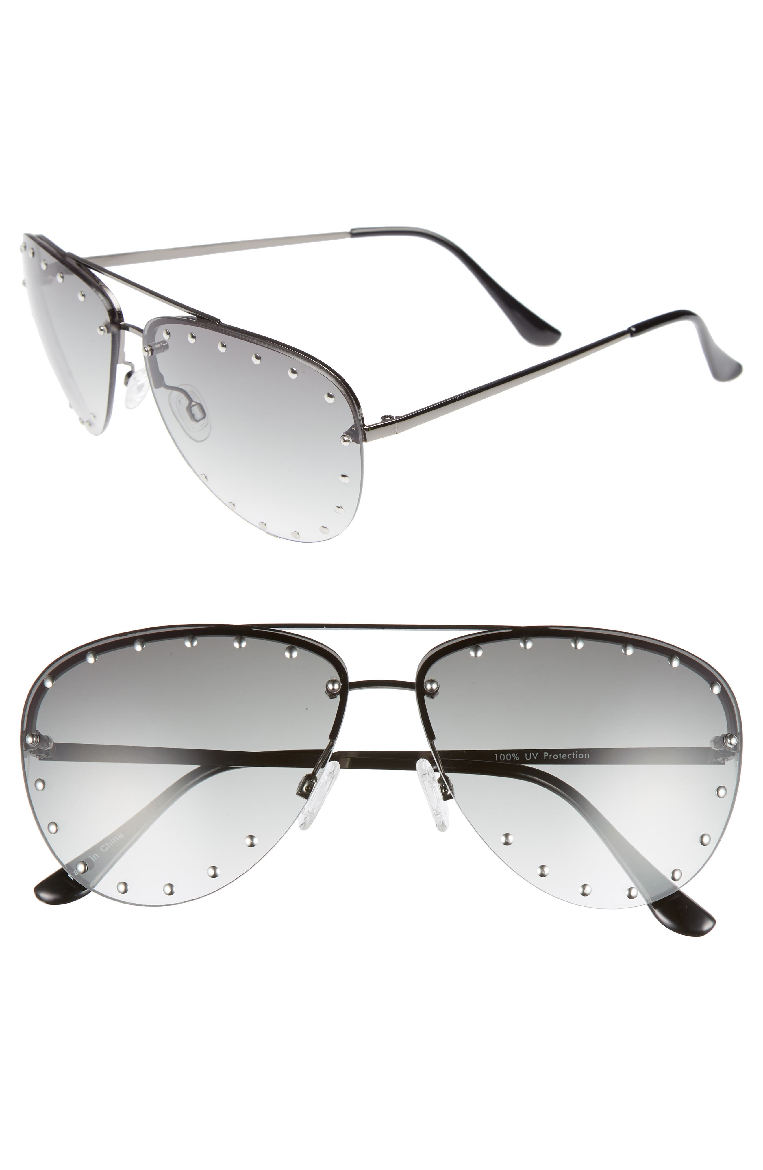 63mm Studded Aviator Sunglasses,                             Main thumbnail 1, color,                             Silver/ Green