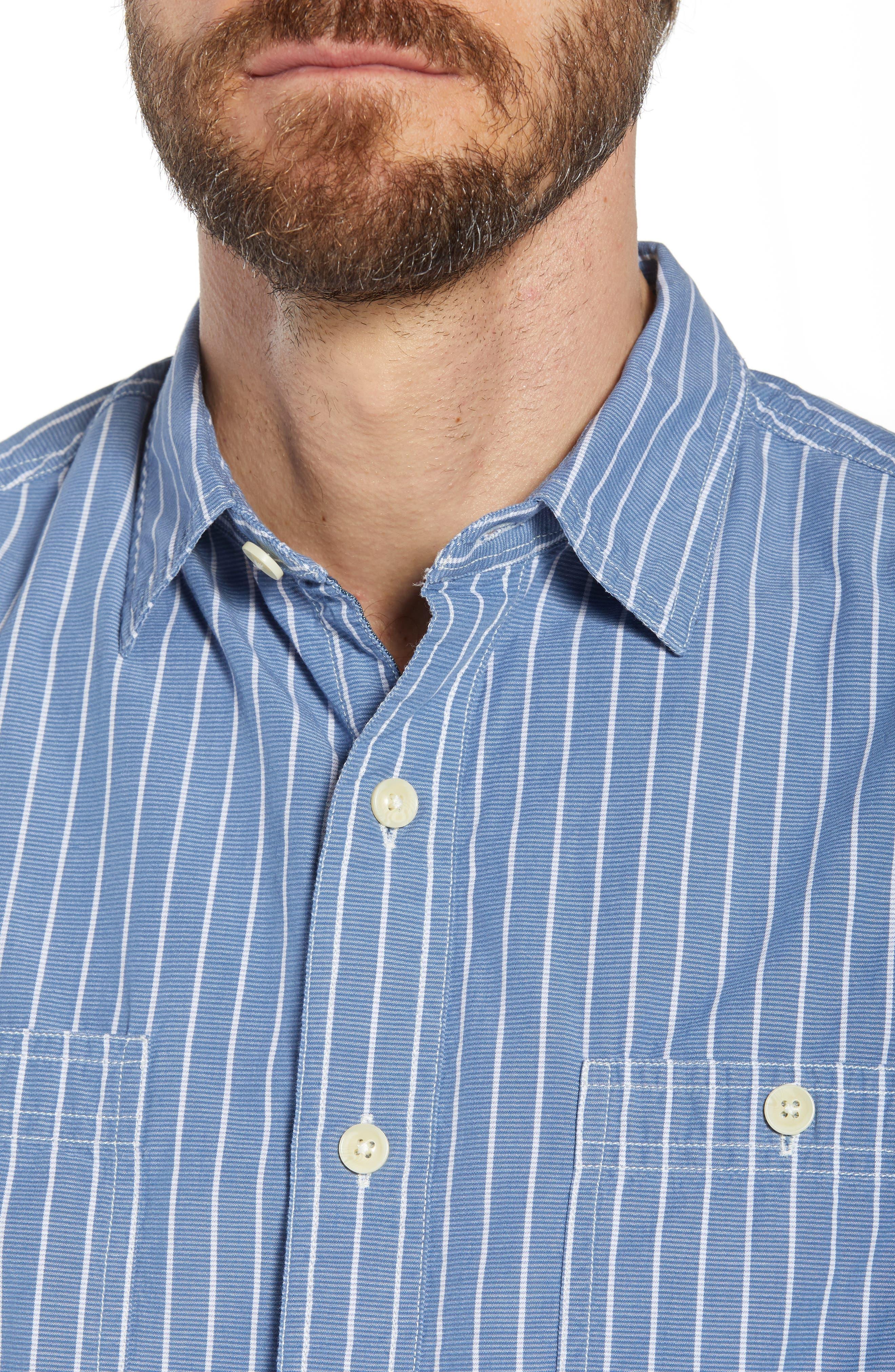 Larkin Stripe Sport Shirt,                             Alternate thumbnail 2, color,                             Blue Cream Stripe
