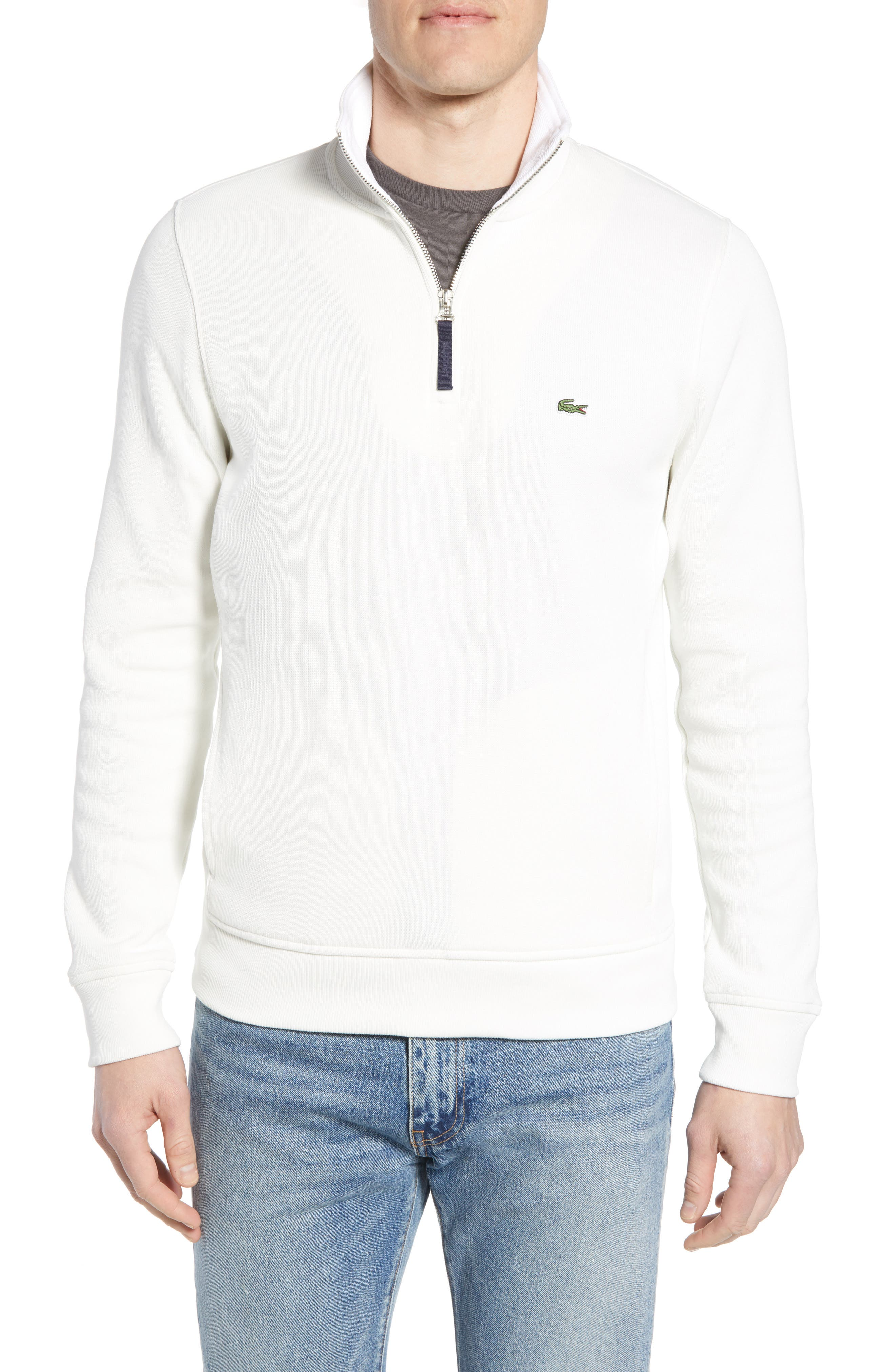 Quarter Zip Cotton Interlock Sweatshirt,                         Main,                         color, Flour/ White