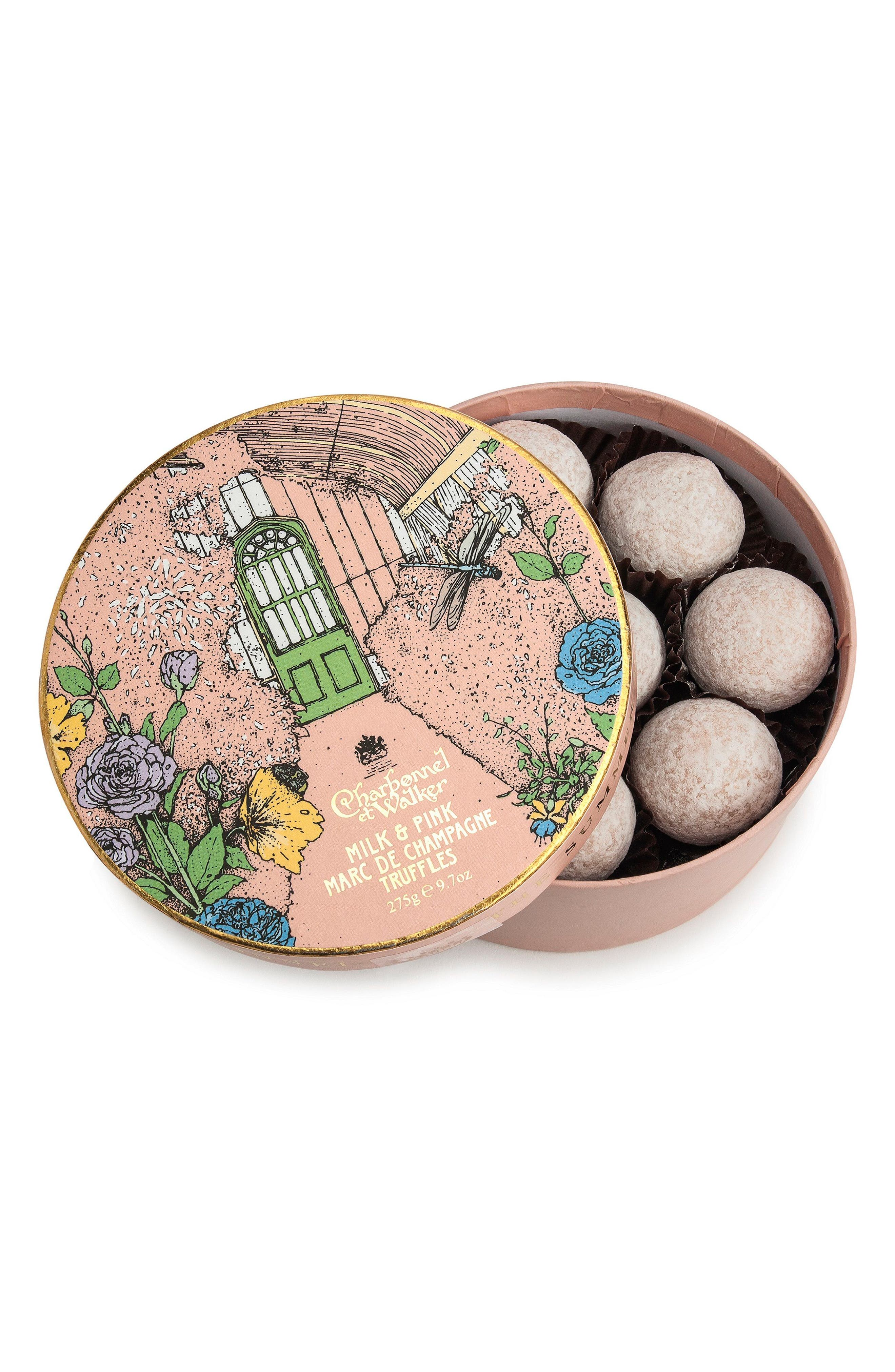 Marc de Champagne Truffles in Gift Box,                             Main thumbnail 1, color,                             Pink