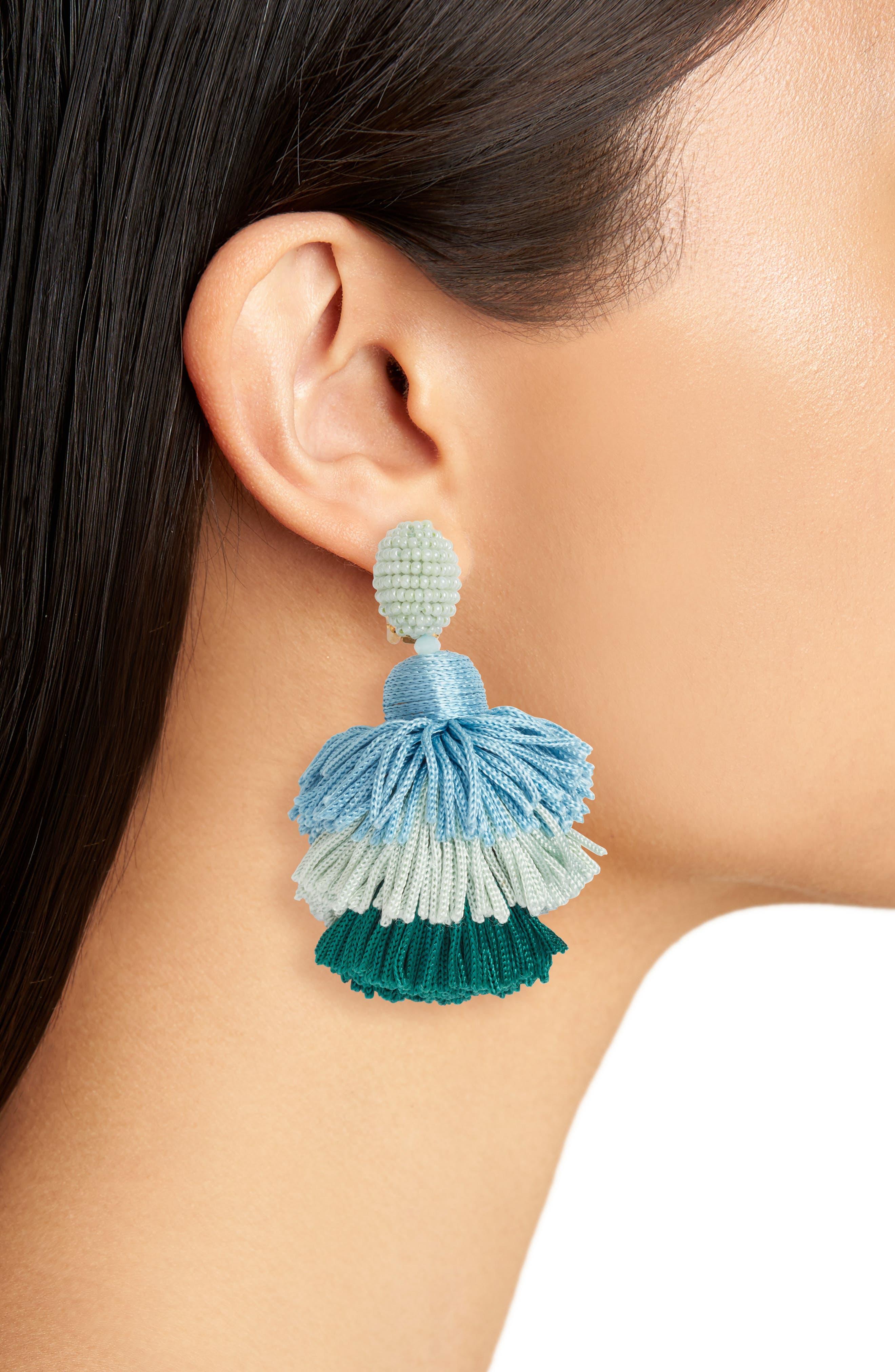 Tiered Tassel Drop Earrings,                             Alternate thumbnail 2, color,                             Celadon