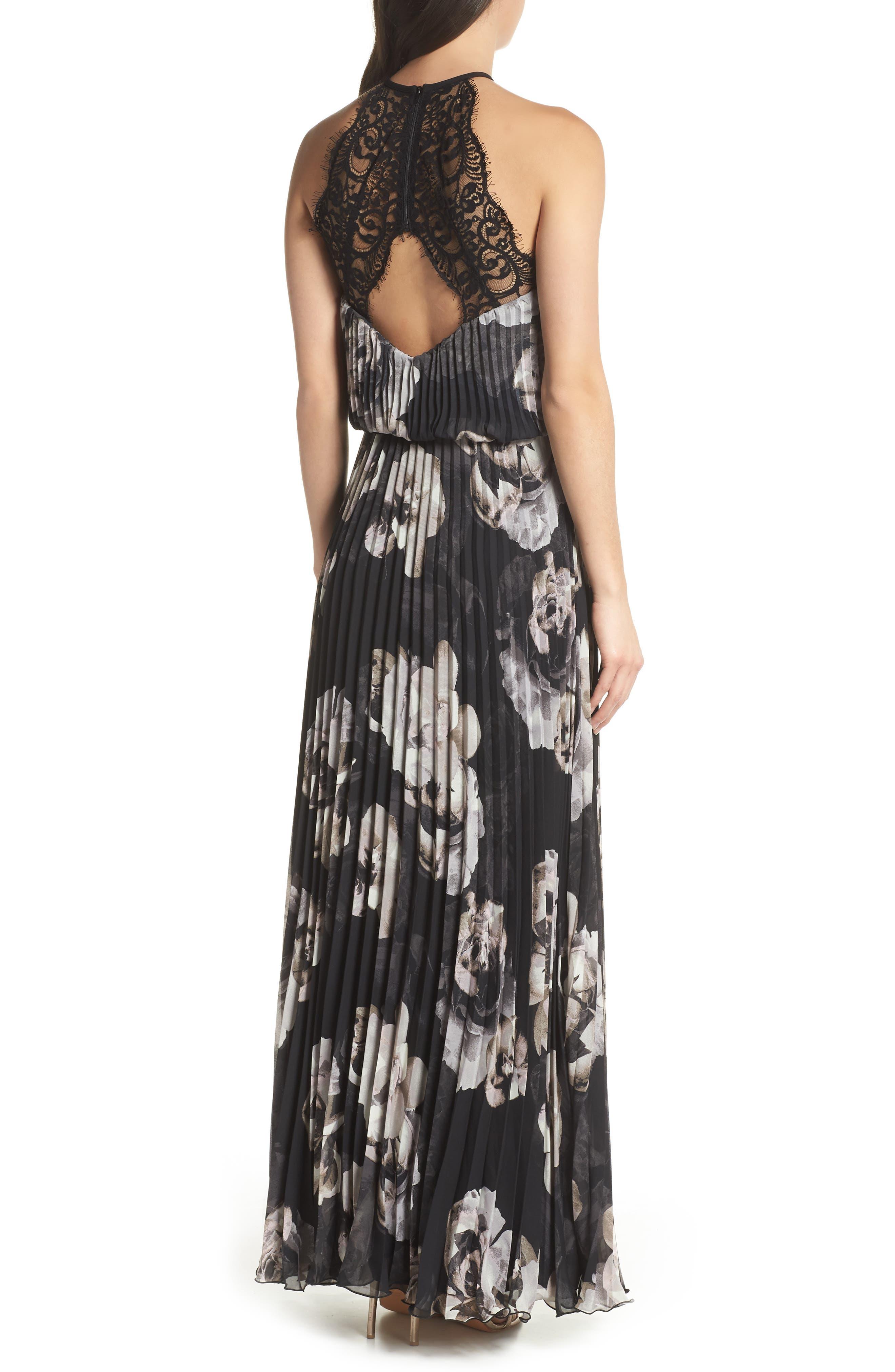 Pleated Halter Neck Chiffon Gown,                             Alternate thumbnail 2, color,                             Black/ White