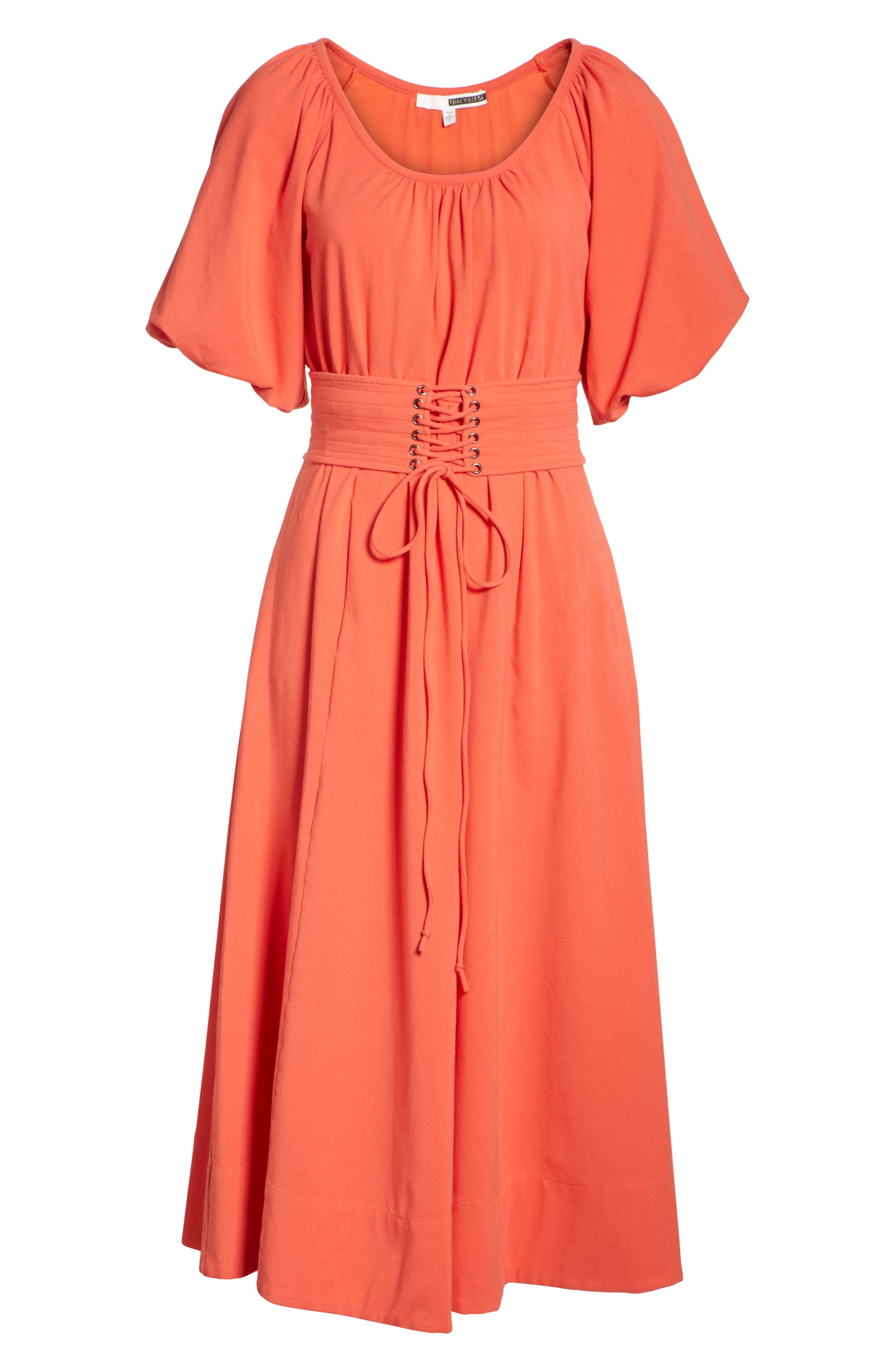 Corseted Peasant Dress,                             Alternate thumbnail 6, color,                             Blood Orange