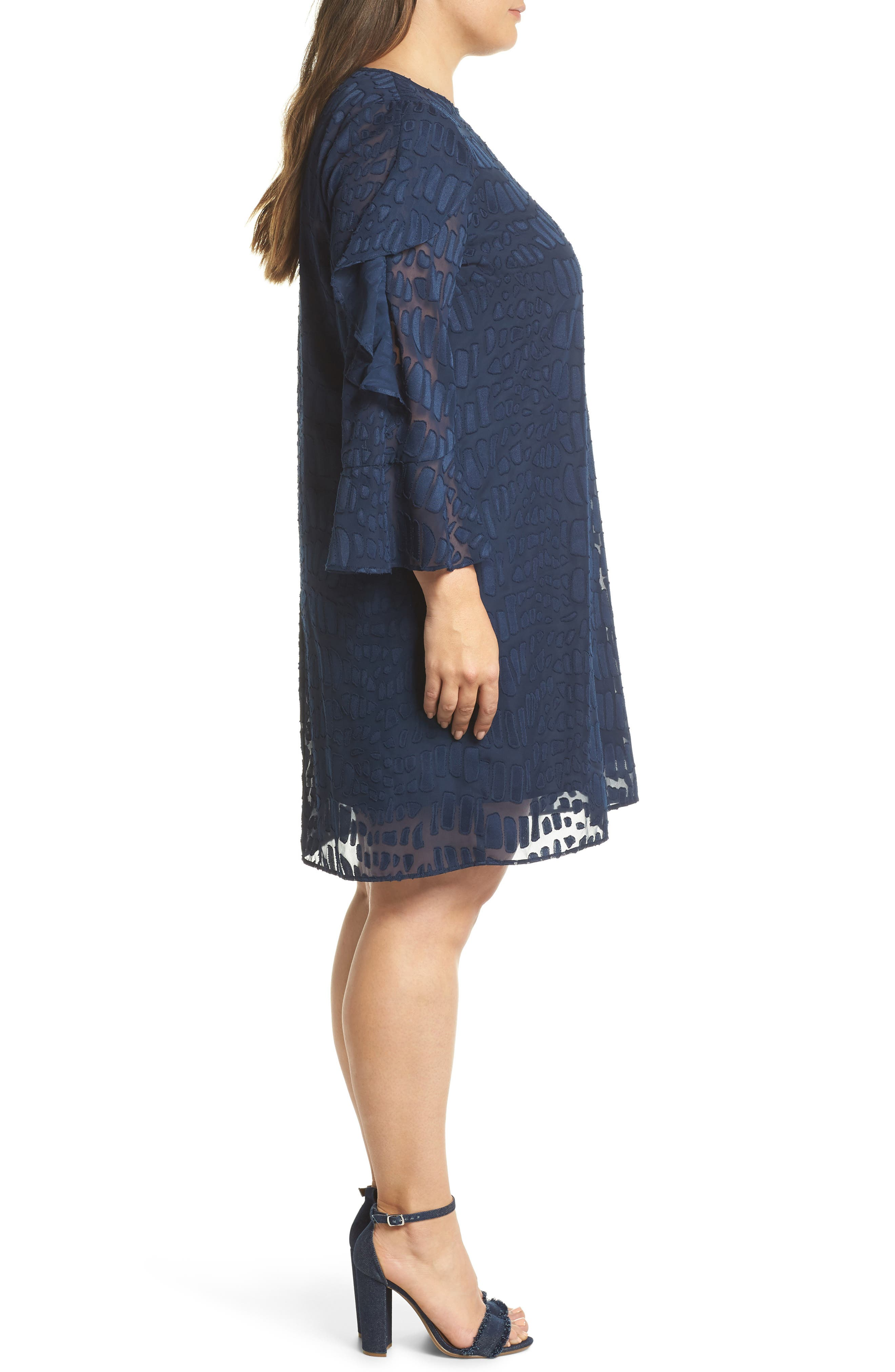 Into the Pines Shift Dress,                             Alternate thumbnail 3, color,                             Navy